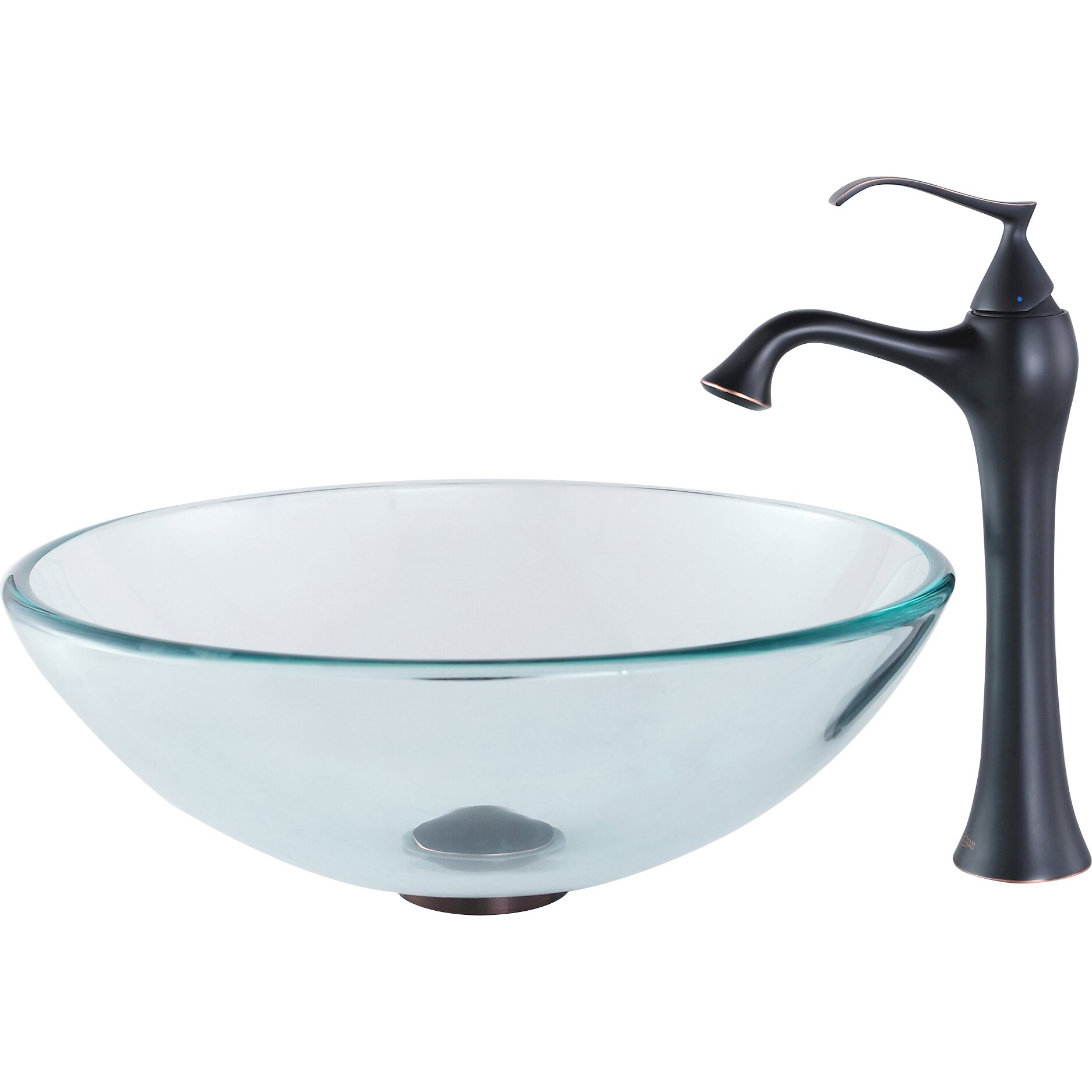 Kraus Glass Vessel Bathroom Sink With Single Handle Single Hole Faucet Reviews Wayfair