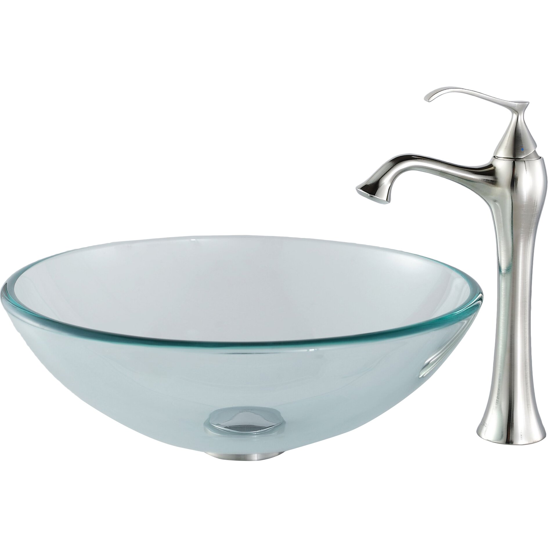 Kraus Glass Vessel Bathroom Sink with Single Handle Single Hole Faucet ...