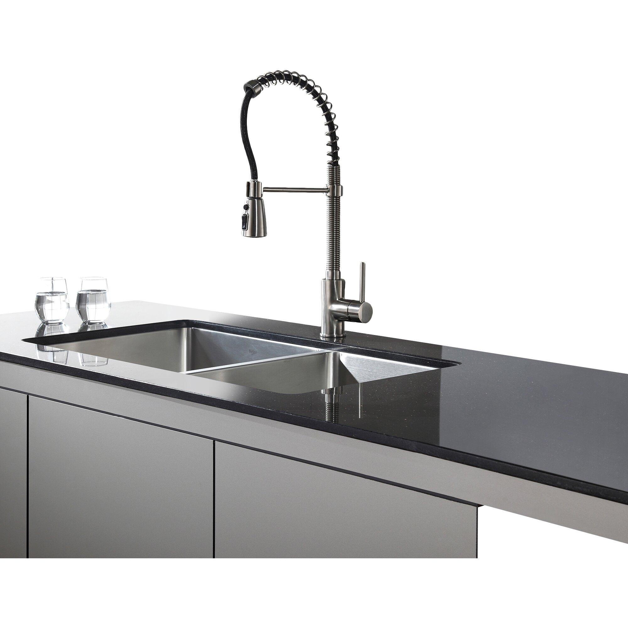 Kraus X 19 6 Piece Undermount Double Bowl Kitchen Sink Reviews Wayfair Supply