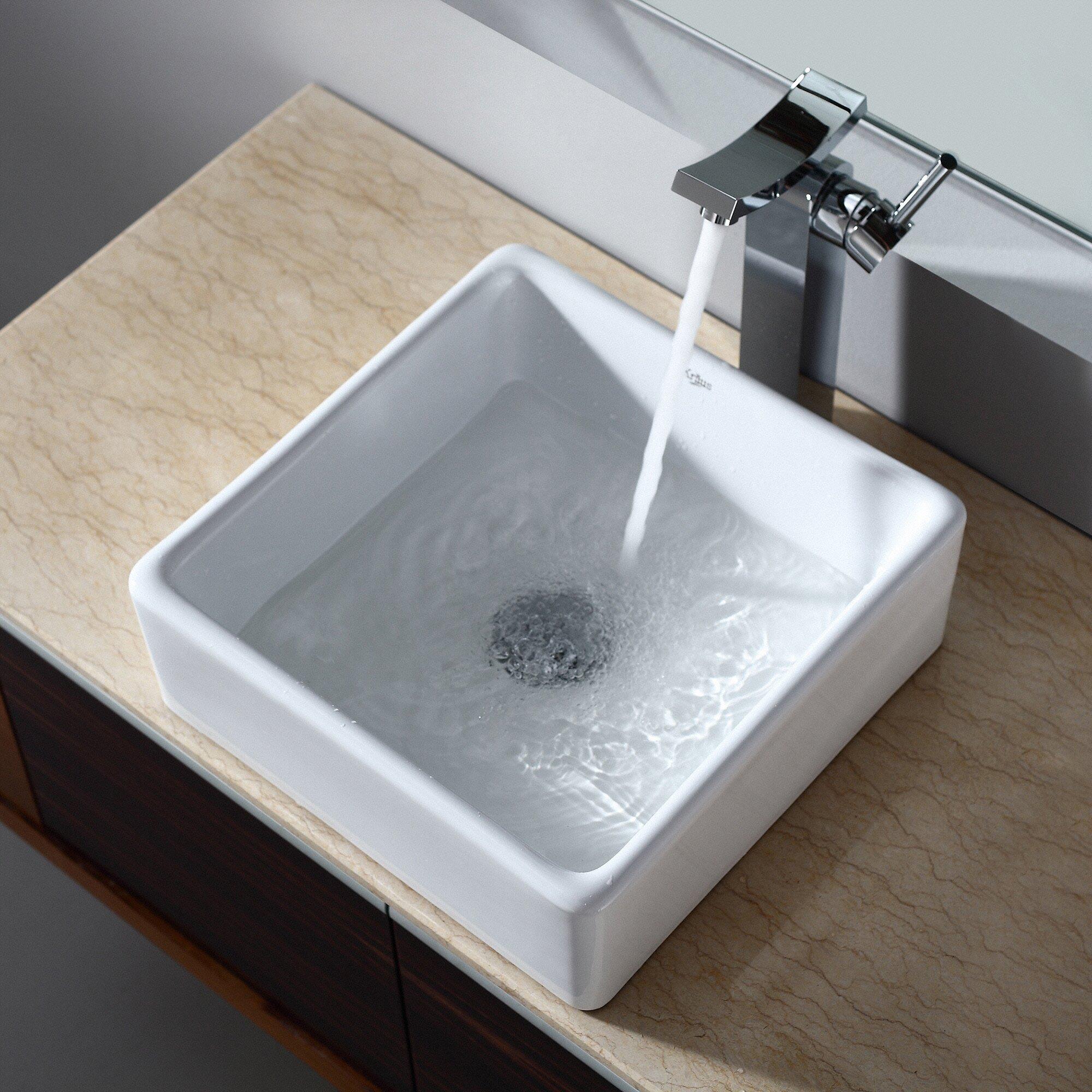 kraus ceramic square vessel bathroom sink reviews wayfair