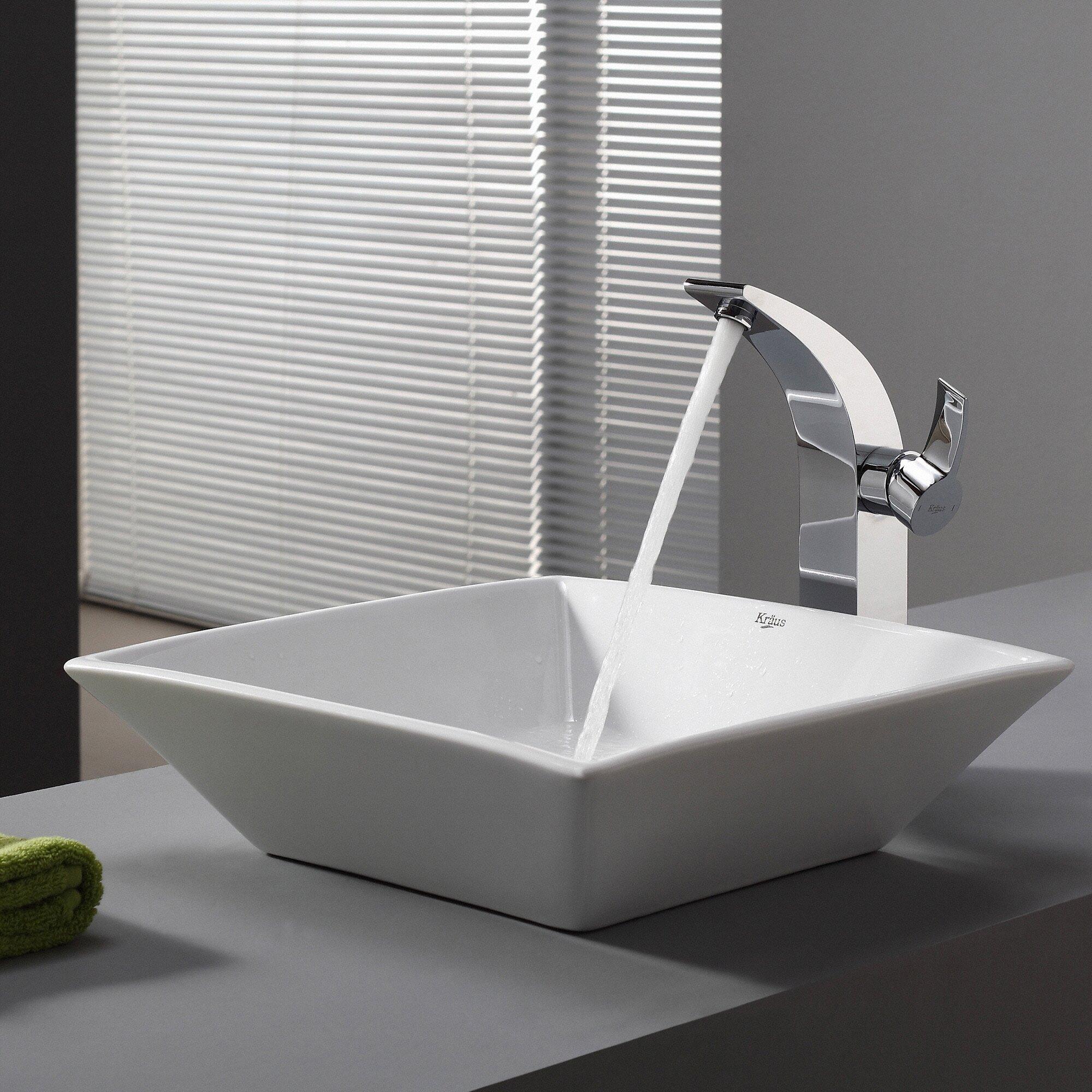 Kraus Ceramic Square Vessel Bathroom Sink Amp Reviews Wayfair