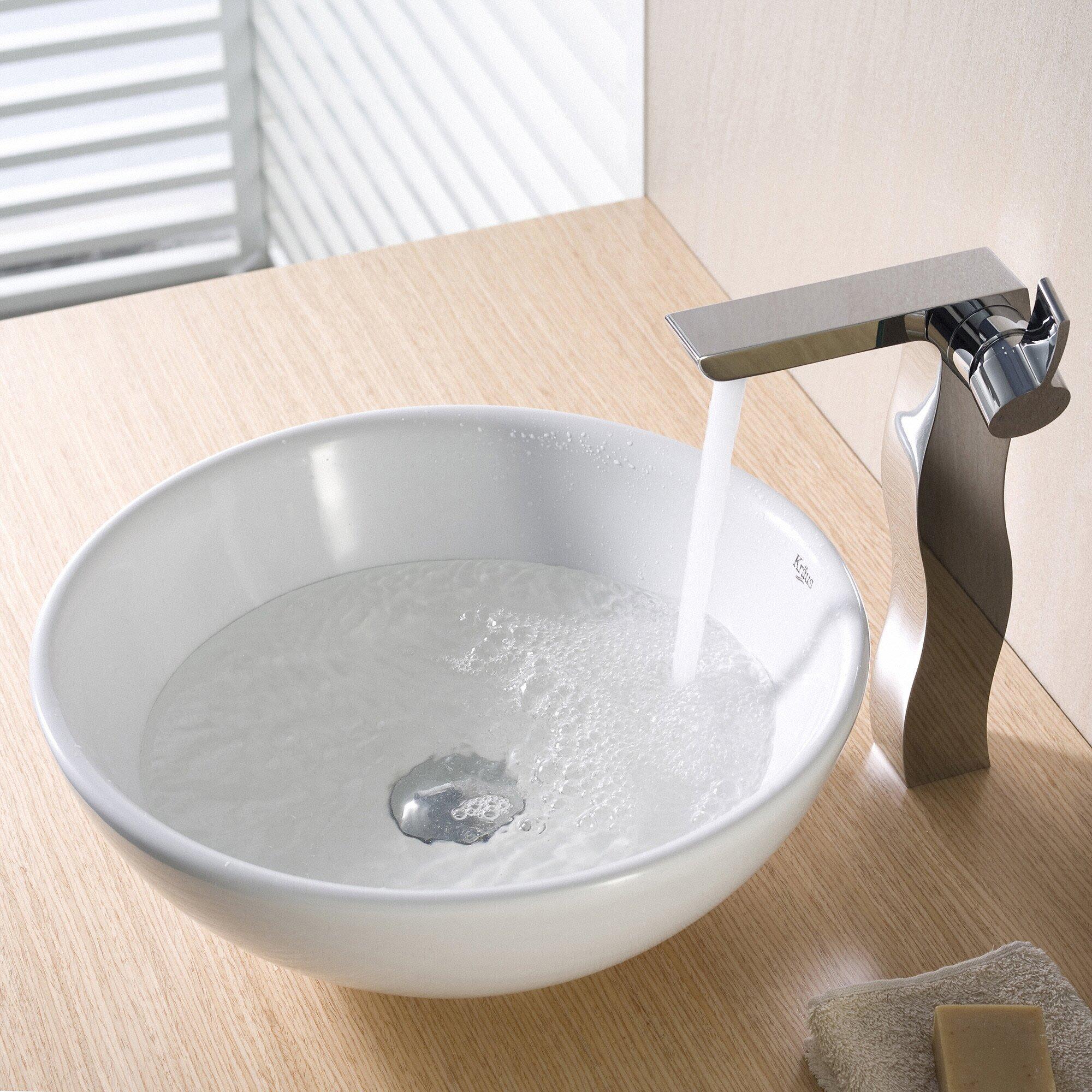 Kraus Ceramic Round Vessel Bathroom Sink & Reviews Wayfair