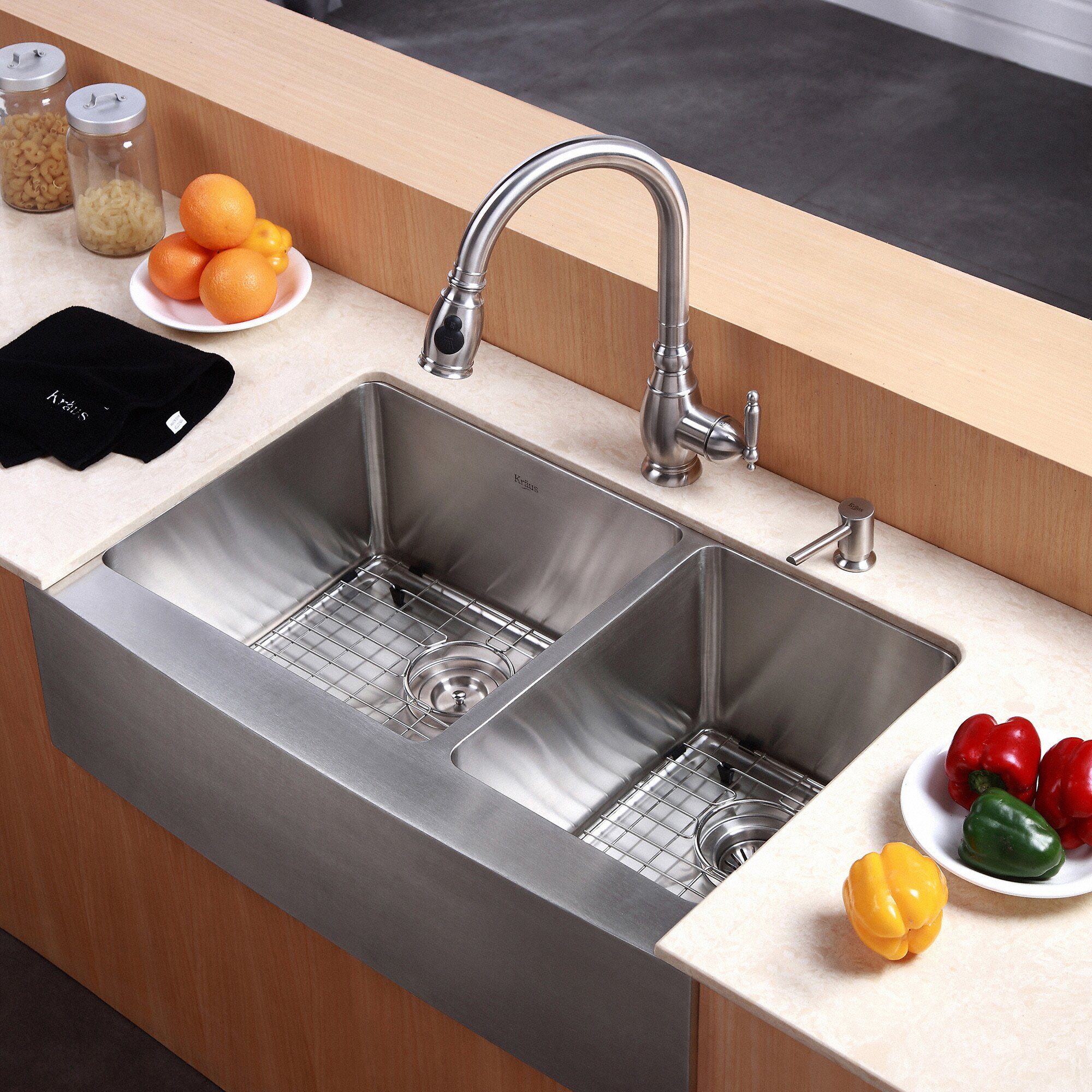 Kraus farmhouse 33quot 60 40 double bowl kitchen sink for 40 inch farmhouse sink