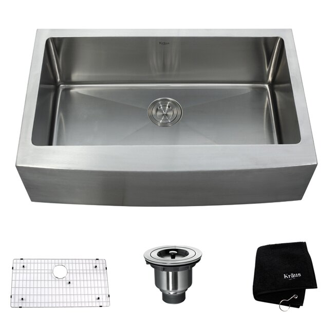 "Kraus 33"" x 20 75"" Single Bowl Farmhouse Kitchen Sink & Reviews"