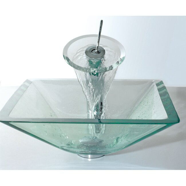 Kraus Glass Combinations Aquamarine Square Vessel Bathroom Sink And Waterfall Faucet Reviews