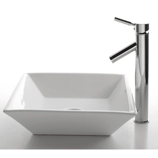 Kraus Ceramic Square Bathroom Sink With Sheven Single