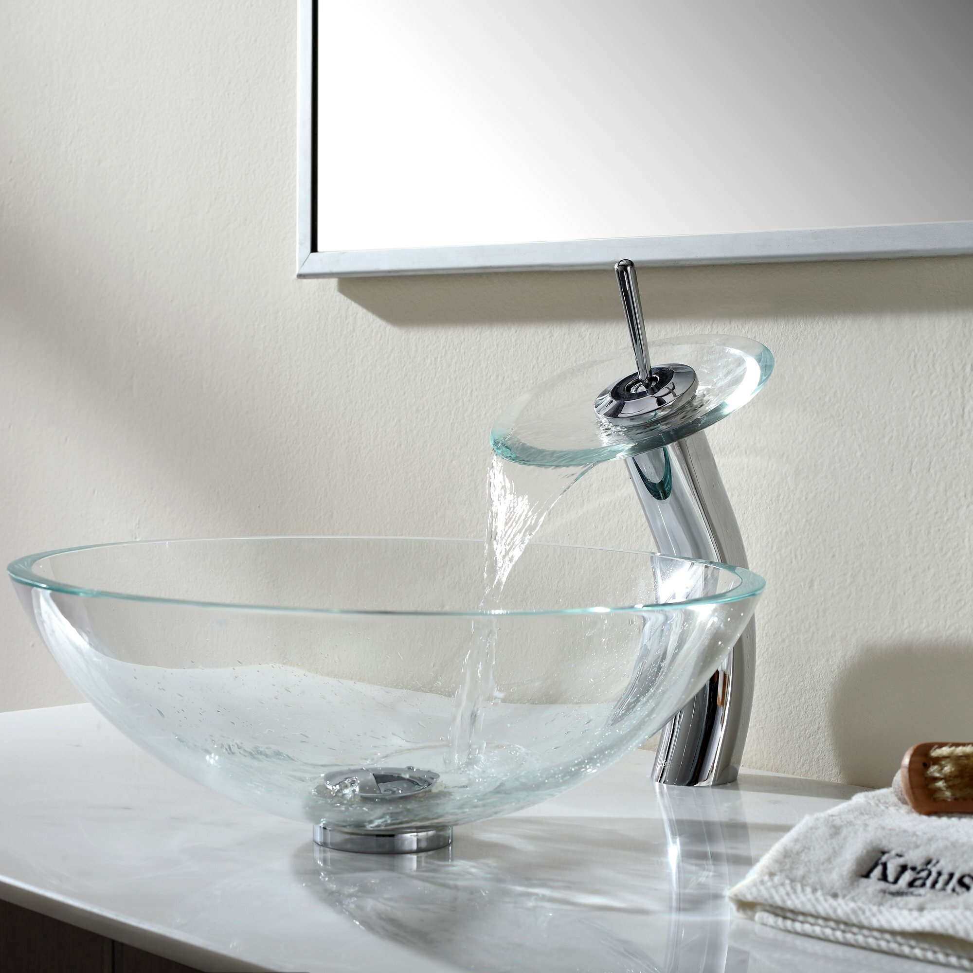 Kraus Crystal Clear Glass Vessel Sink and Waterfall Faucet & Reviews ...