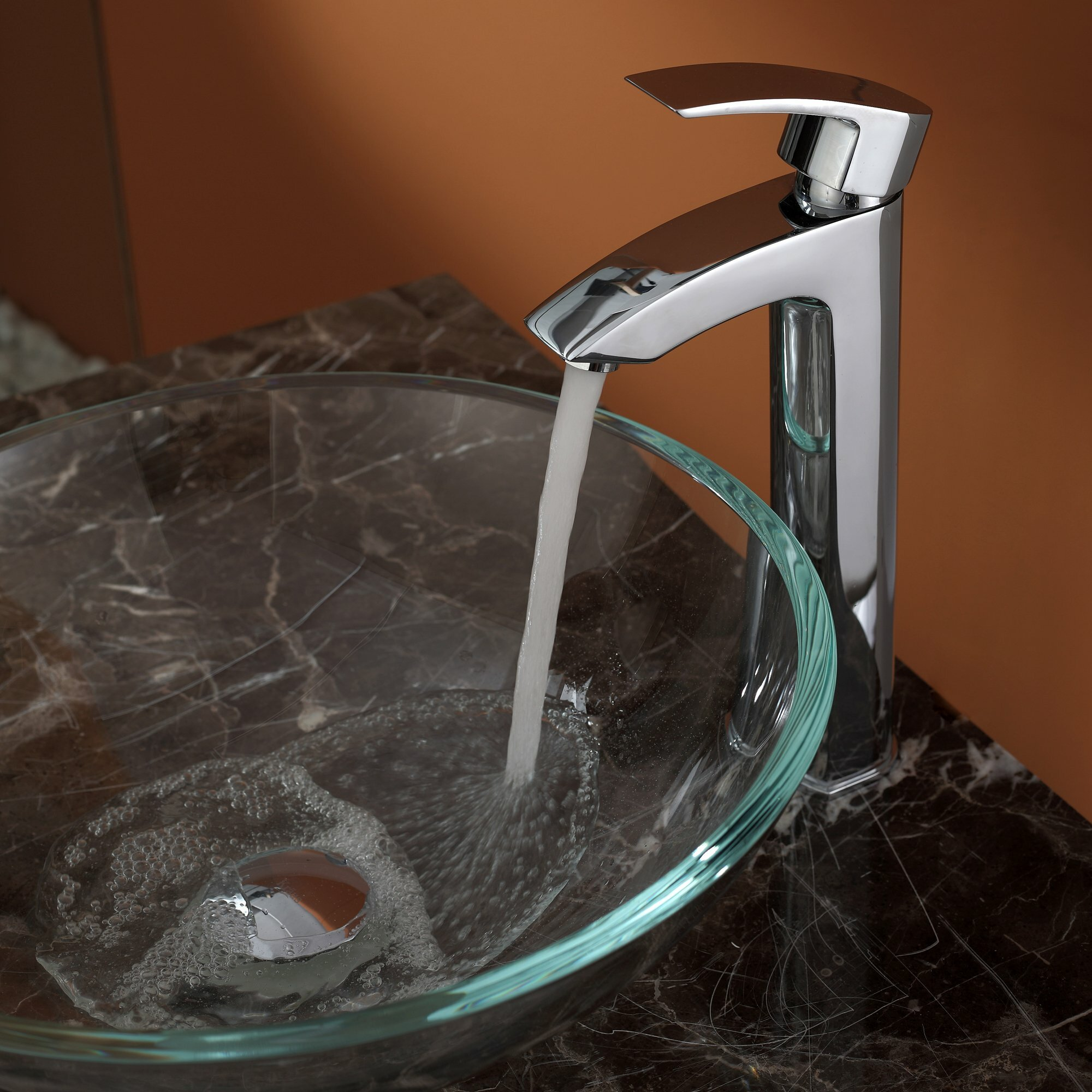 Kraus Crystal Clear Glass Vessel Sink And Visio Faucet