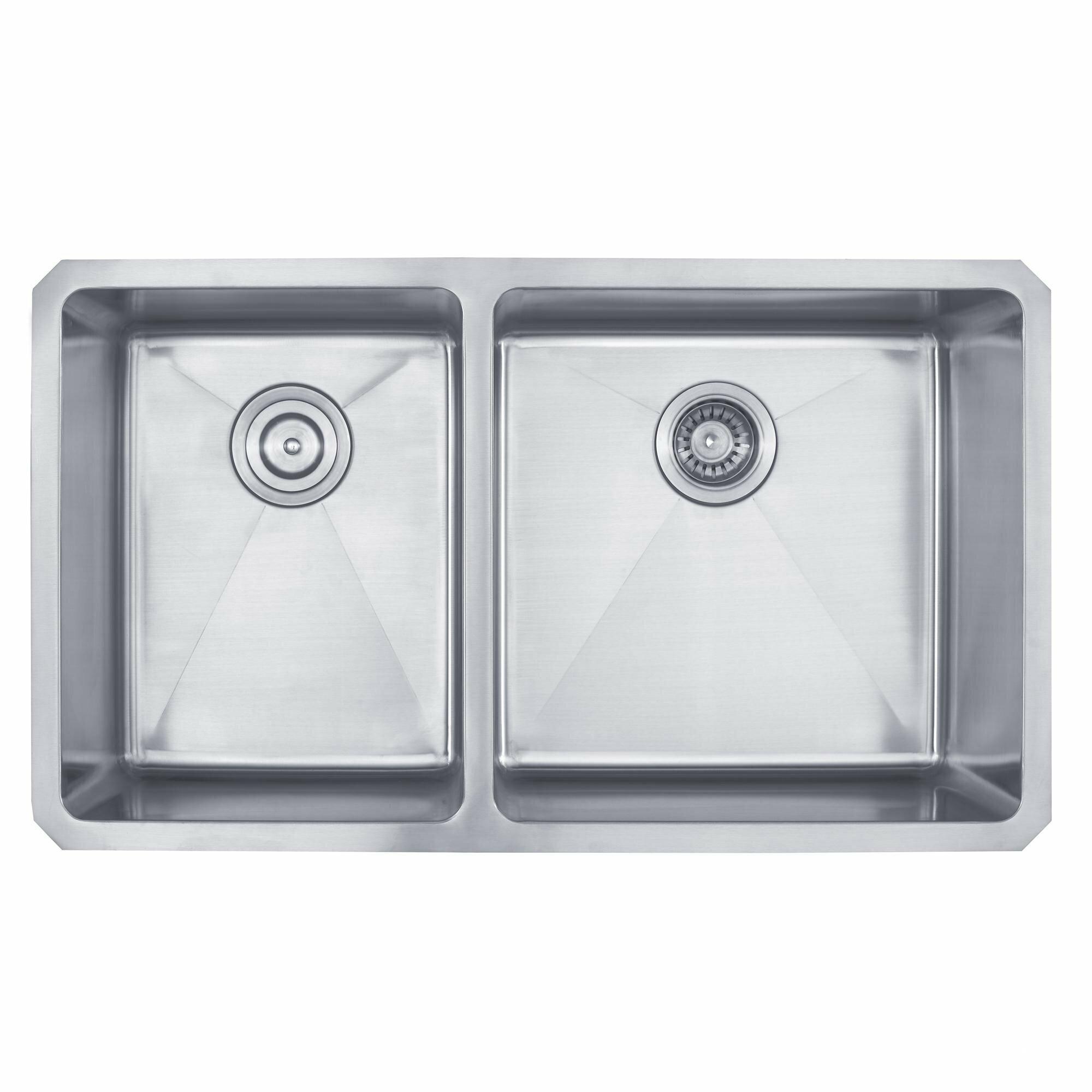 Kraus x 19 6 piece undermount 60 40 double bowl - Kitchen sink pieces ...