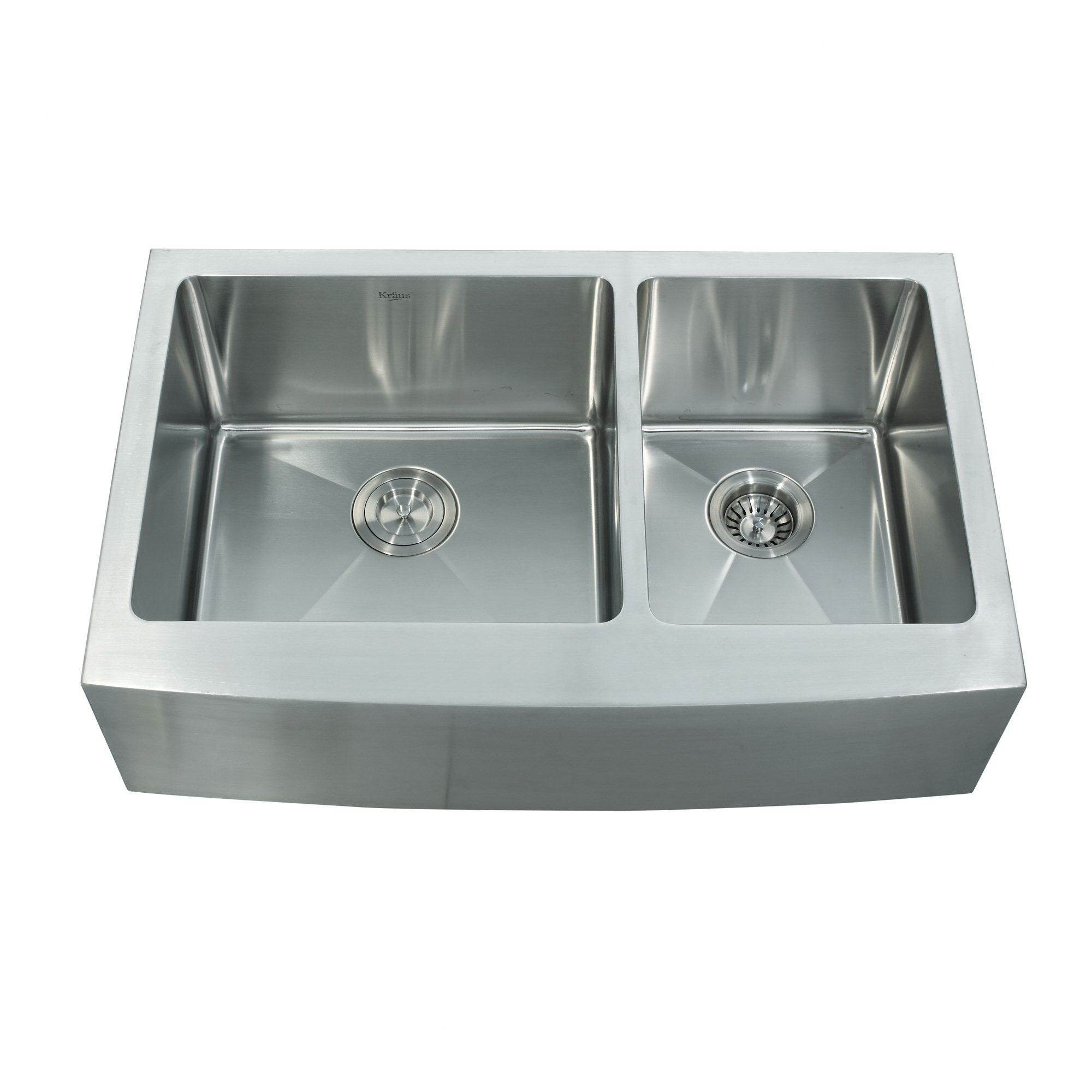 Kraus x double bowl farmhouse kitchen sink for Best kitchen faucet for double sink