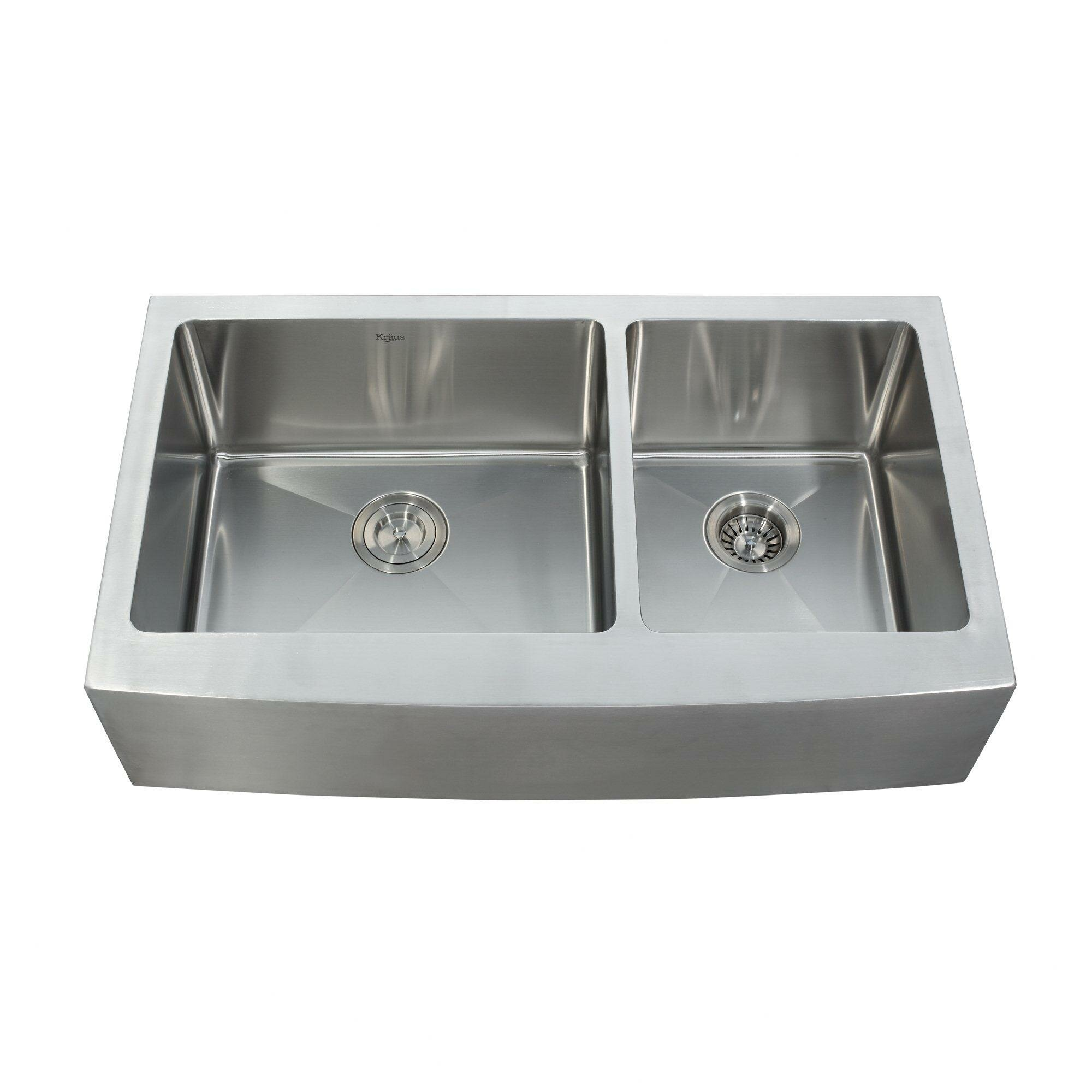 "Kitchen Sink Kraus: Kraus 35.88"" X 20.75"" Farmhouse Double Bowl Kitchen Sink"