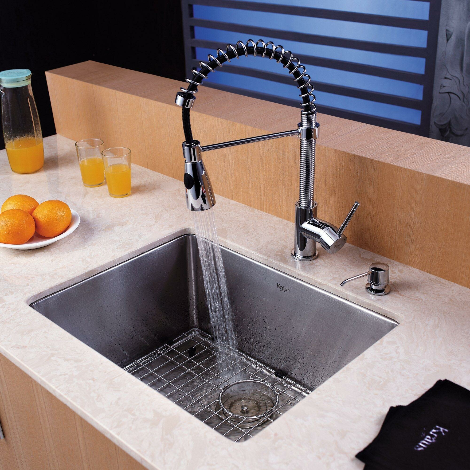 kraus 23 x 18 undermount kitchen sink with faucet and soap dispenser reviews wayfair. Black Bedroom Furniture Sets. Home Design Ideas