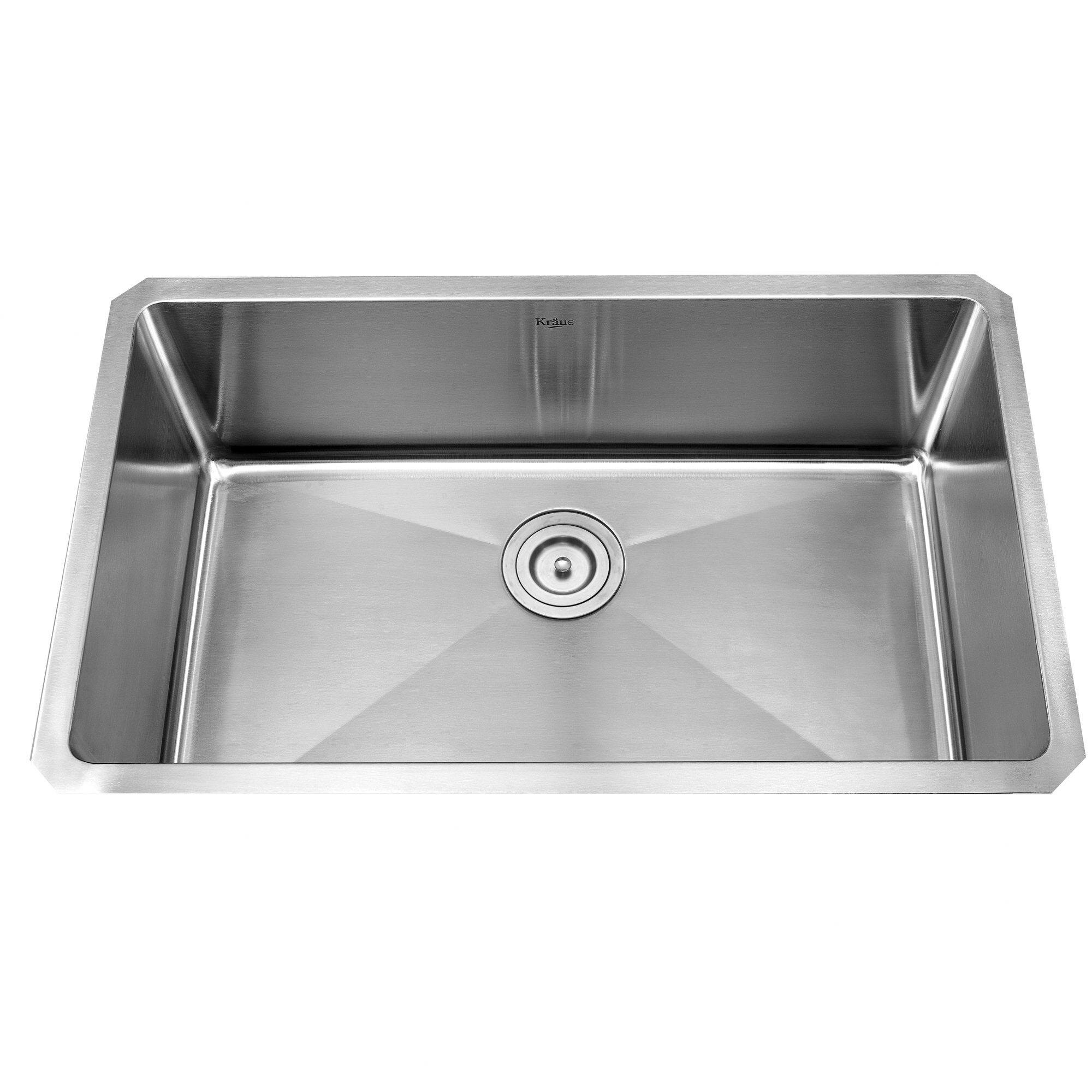 stainless steel single bowl undermount kitchen sink kraus 30 quot x 16 quot undermount single bowl kitchen sink with 9783