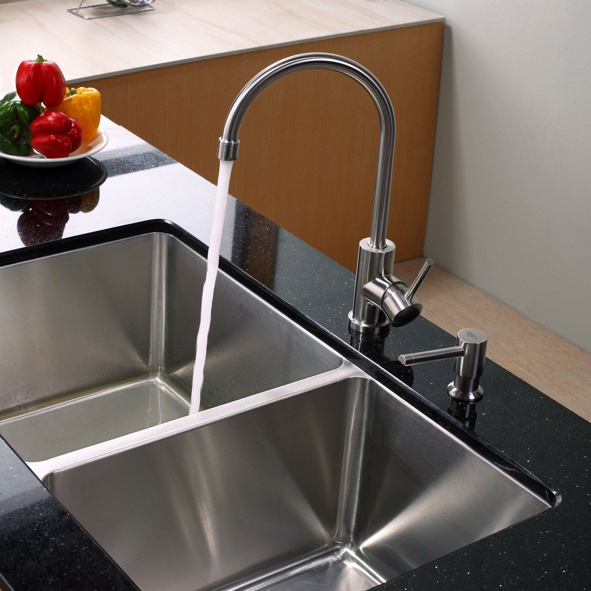 Kraus X 19 X 10 Undermount Double Bowl 70 30 Kitchen Sink With Kitchen Faucet And Soap