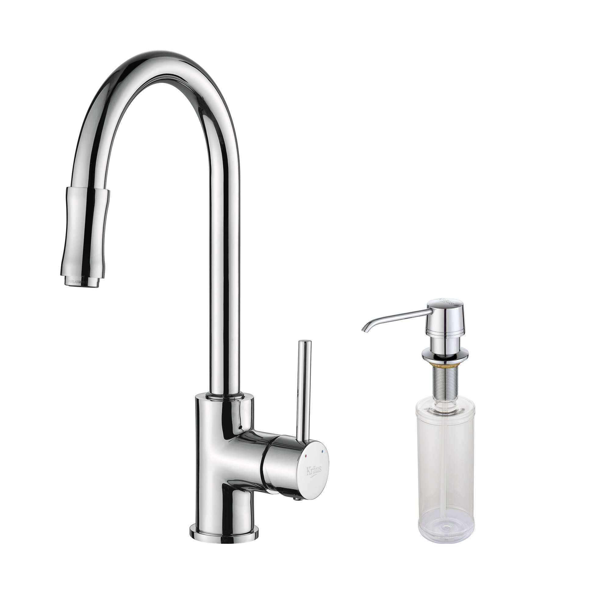 kraus single handle pull down kitchen faucet set with