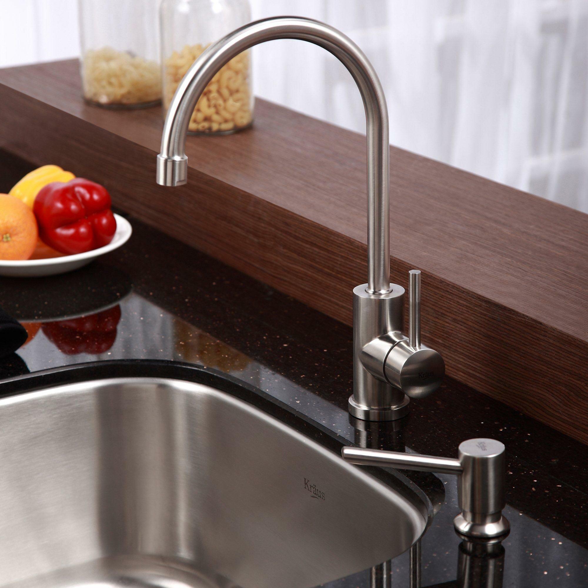 Kraus Kitchen Sink Reviews : Kraus Stainless Steel Undermount Single Bowl Kitchen Sink with Kitchen ...