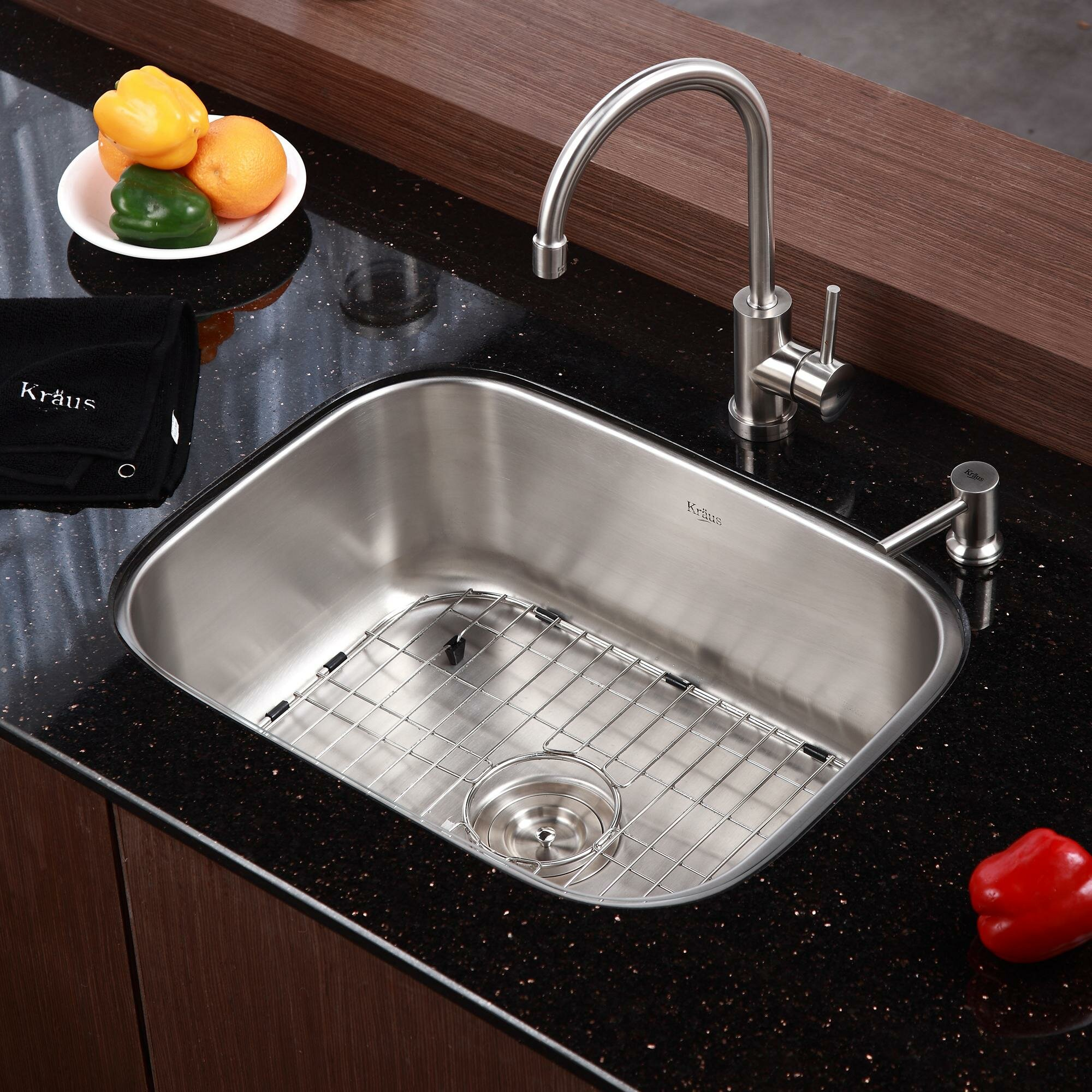 Kraus Stainless Steel 23 X 17 6 Undermount Single Bowl Kitchen Sink With 14 3 Kitchen Faucet