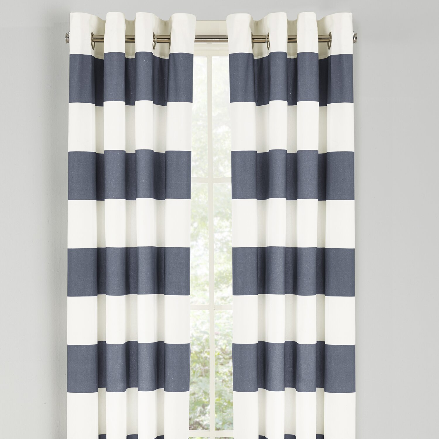 Gray And White Striped Kitchen Curtains