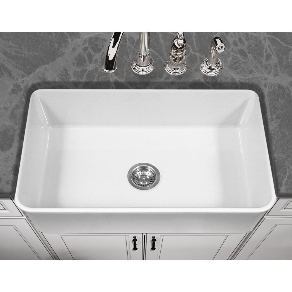 "Large Sink Kitchen: Houzer Platus 33"" X 20"" Apron Front Fire Clay Large Single"