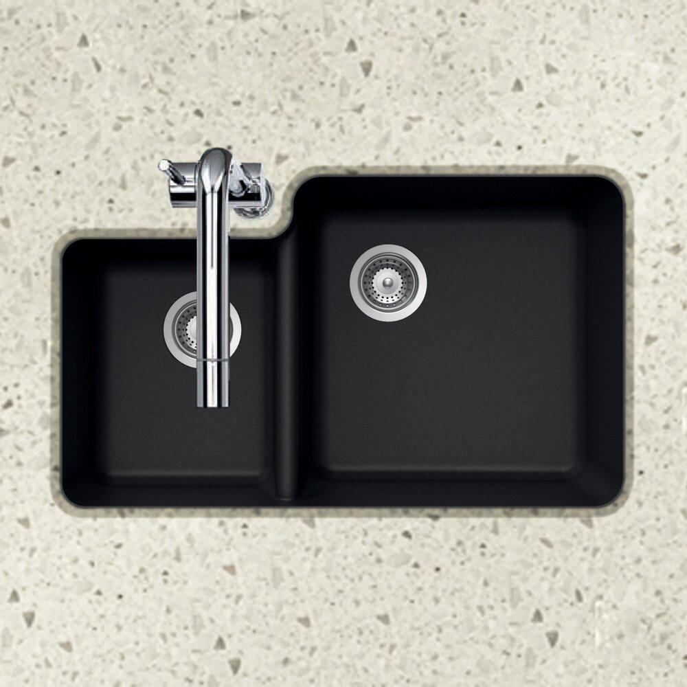 Houzer Quartztone 33 X 70 30 Double Bowl Undermount Kitchen Sink Reviews Wayfair