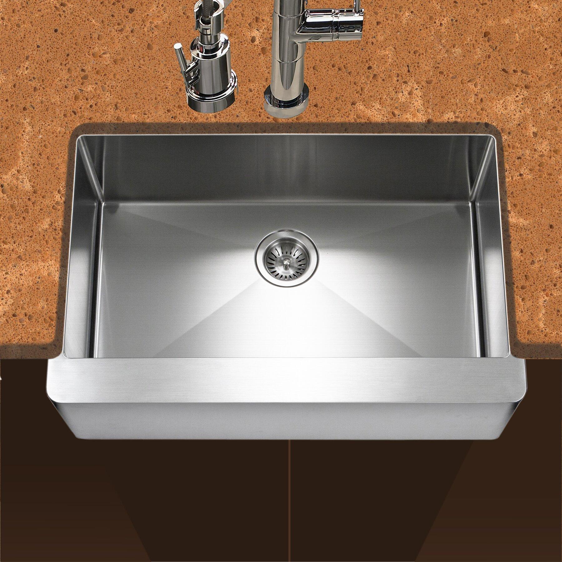 "Apron Kitchen Sinks: Houzer Epicure 30"" X 20"" Series Single Bowl Apron Front"