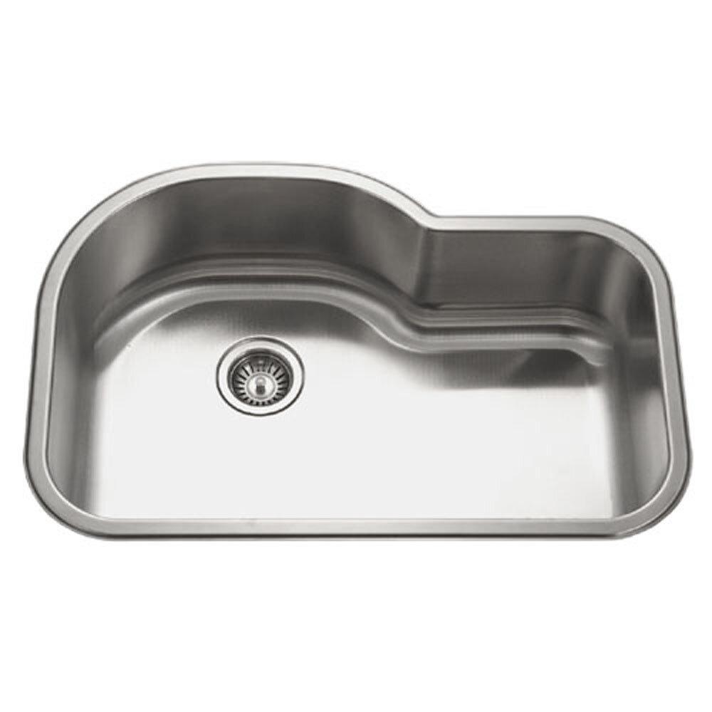 Houzer Medallion Designer 31 5 X 21 Undermount Offset Single Bowl Kitchen Sink