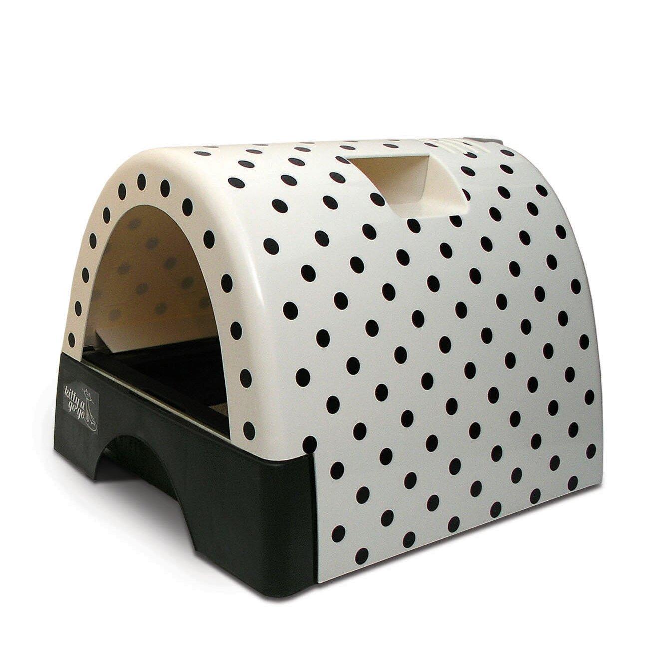 kittyagogo designer cat litter box with polka dot cover. Black Bedroom Furniture Sets. Home Design Ideas