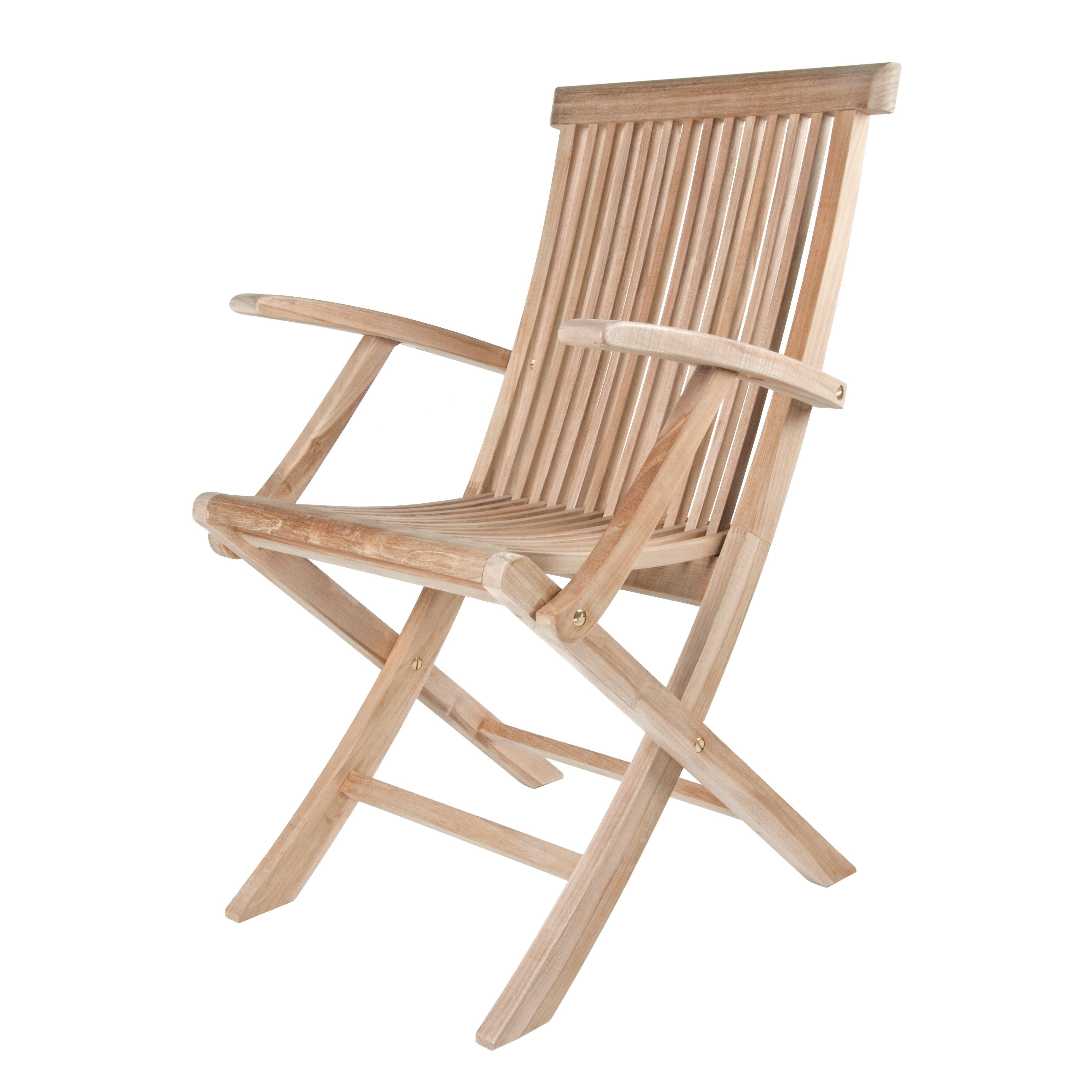 Arbora Teak Solid Teak Classic Folding Dining Arm Chairs