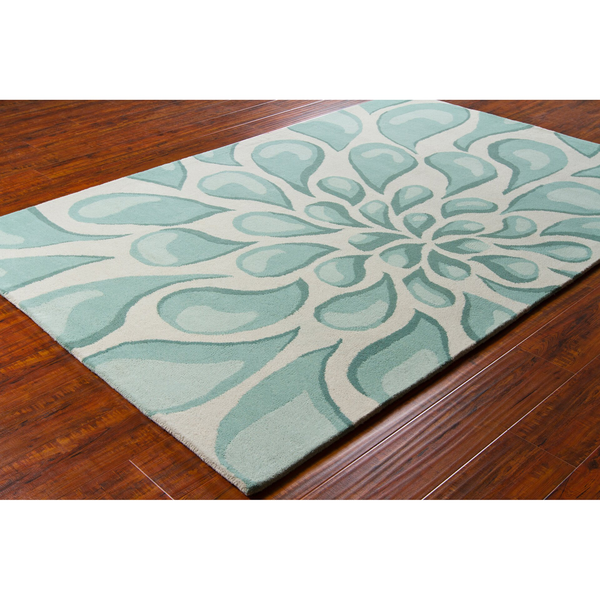 Chandra Stella Patterned Contemporary Wool Beige/Aqua Area