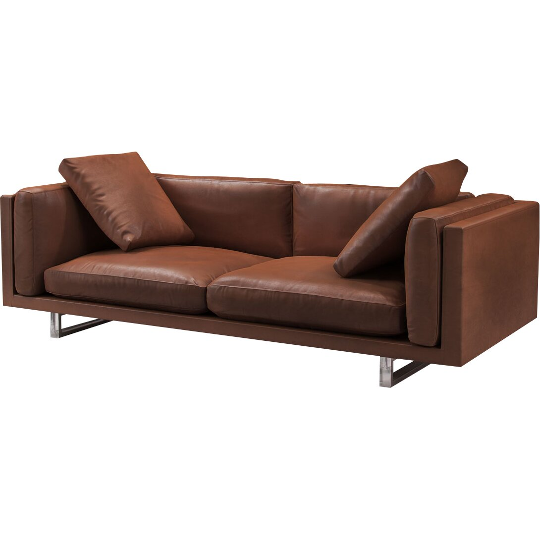 Modloft fulton top grain leather sofa reviews wayfair Best loveseats