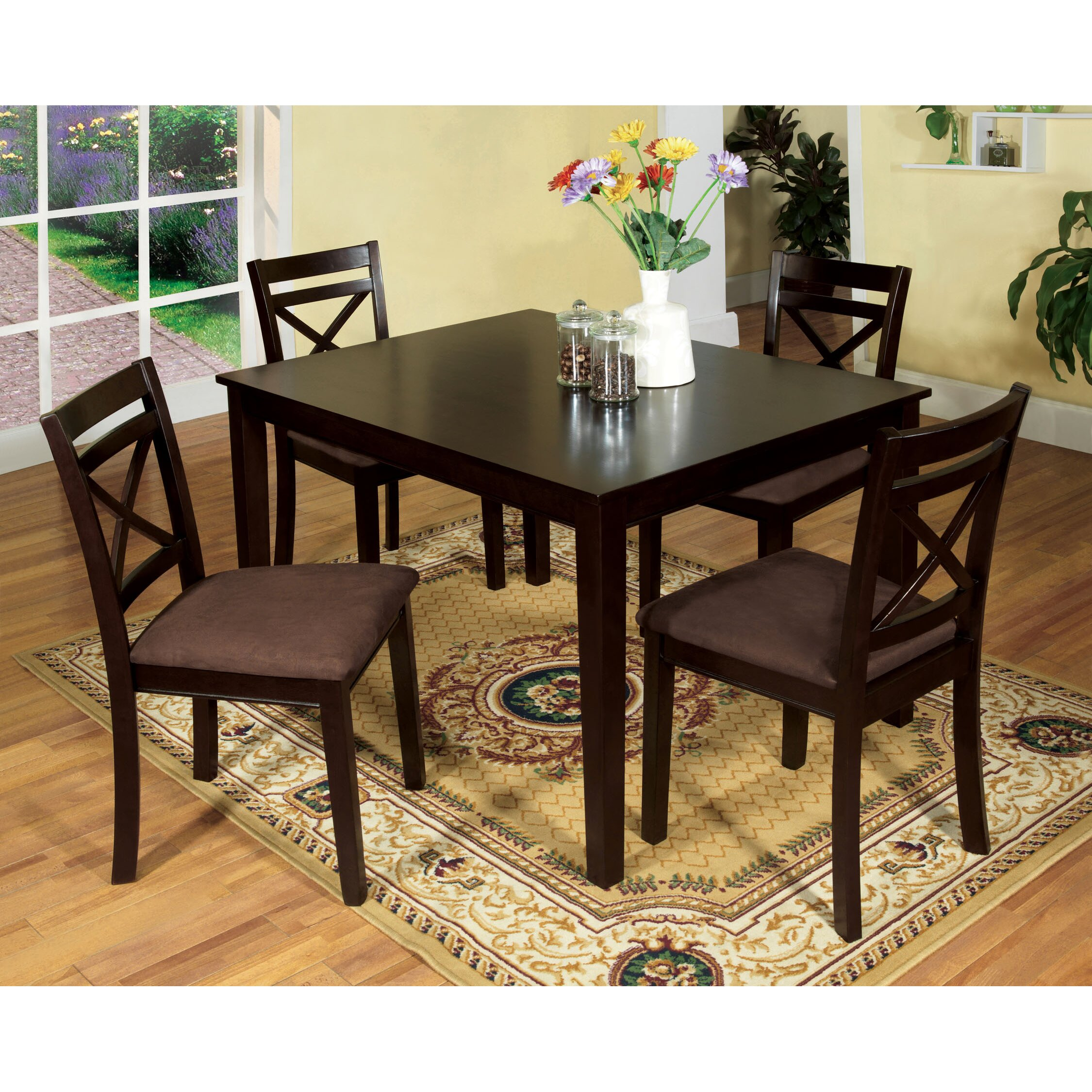 Hokku designs easton 5 piece dining set reviews wayfair for Dining room tables easton