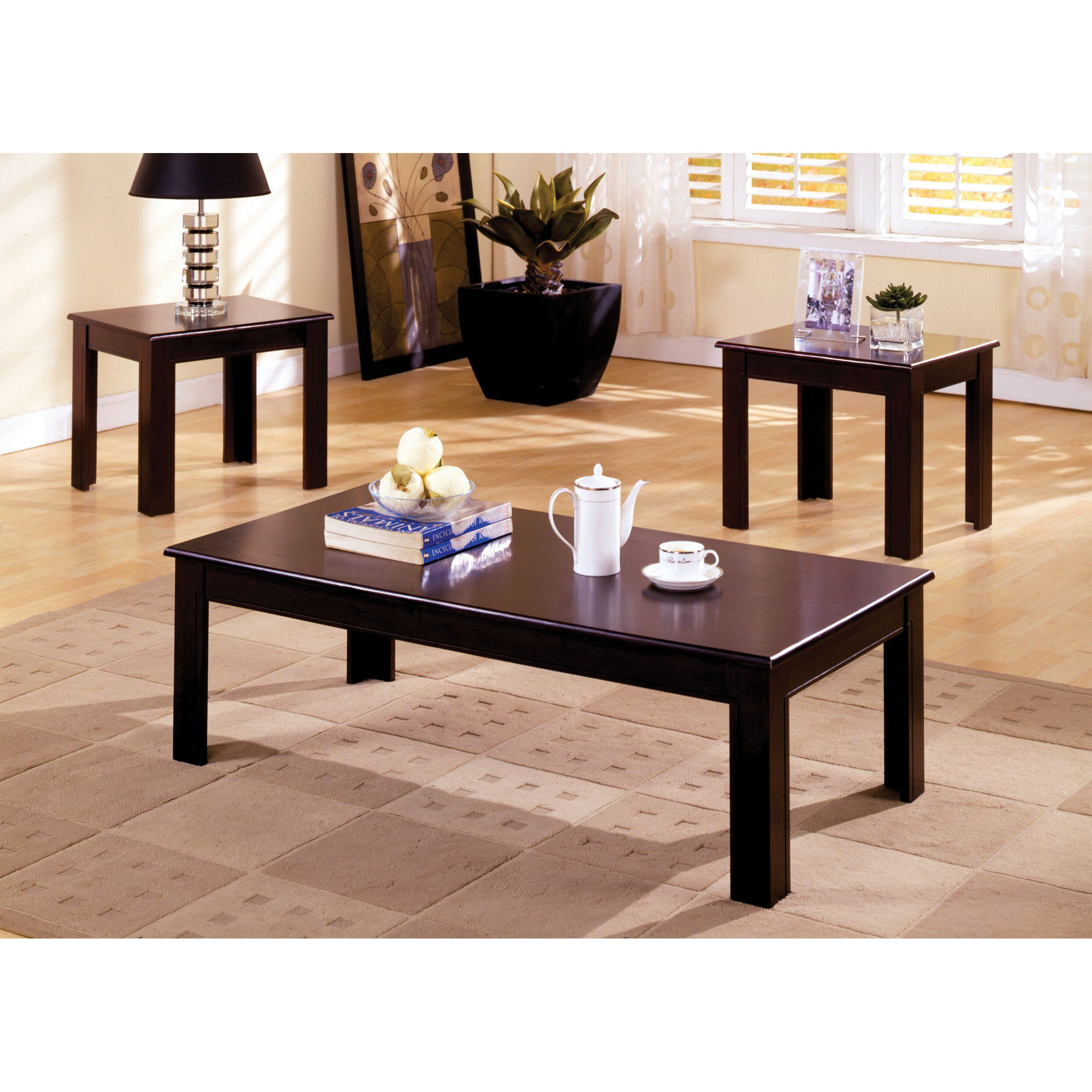 hokku designs frixe 3 piece coffee table set reviews wayfair. Black Bedroom Furniture Sets. Home Design Ideas