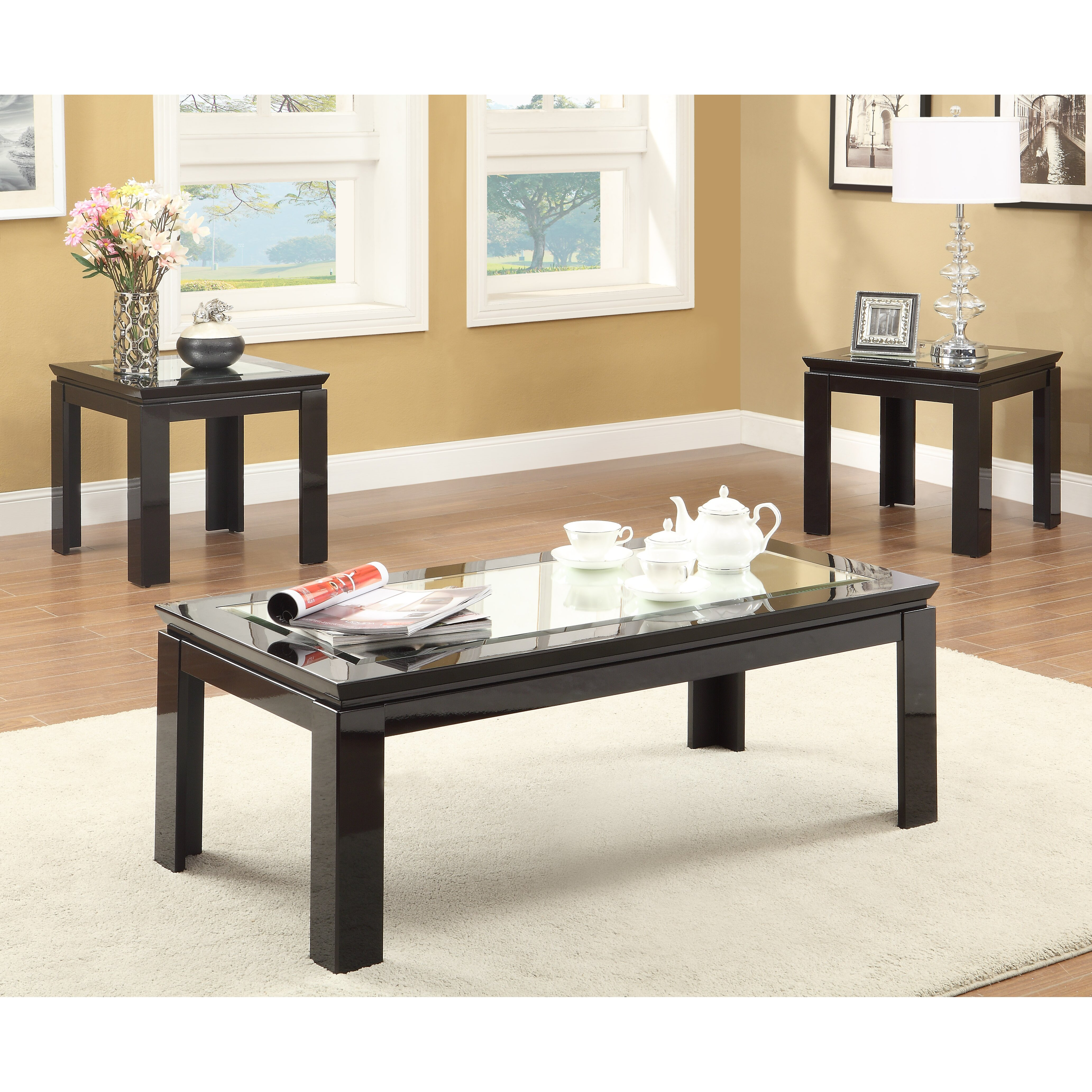 Hokku Coffee Table Sets: Hokku Designs Nayom Mirrored 3 Piece Coffee Table Set