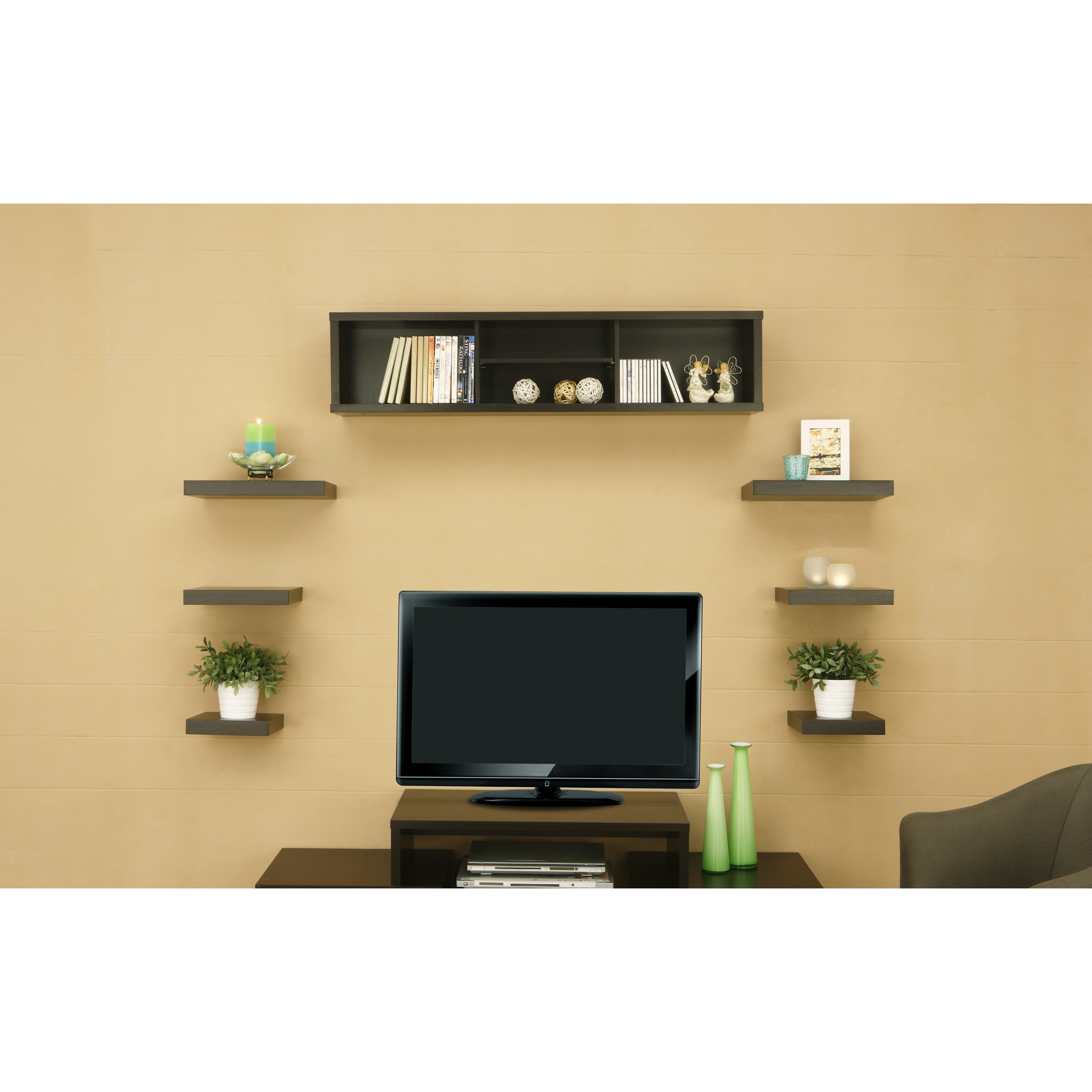 Hokku designs somer 7 piece hanging shelves cabinet set for Free hanging bookshelves