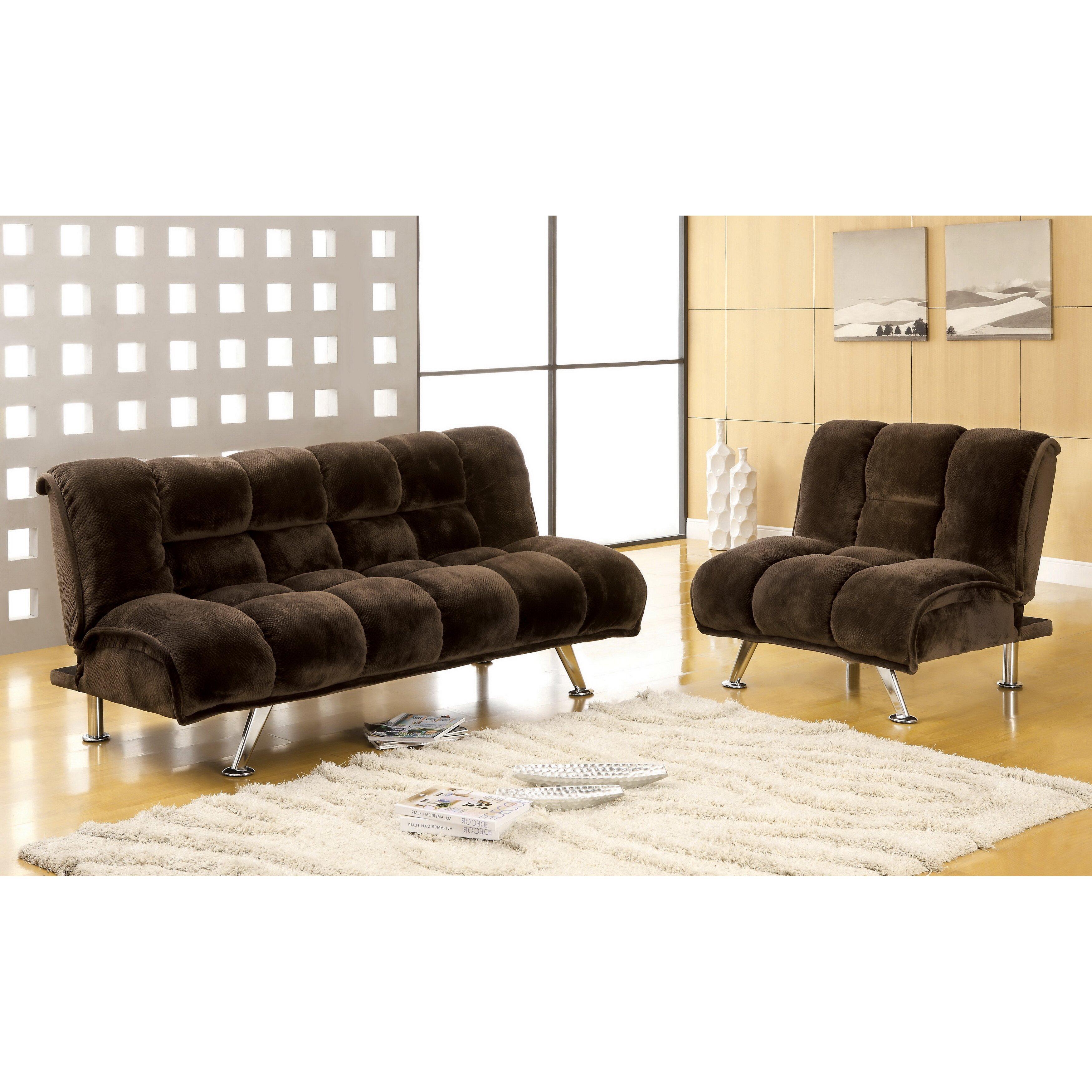 Hokku Designs Jopelli Flannel Sleeper Sofa And Chair Set Reviews Wayfair