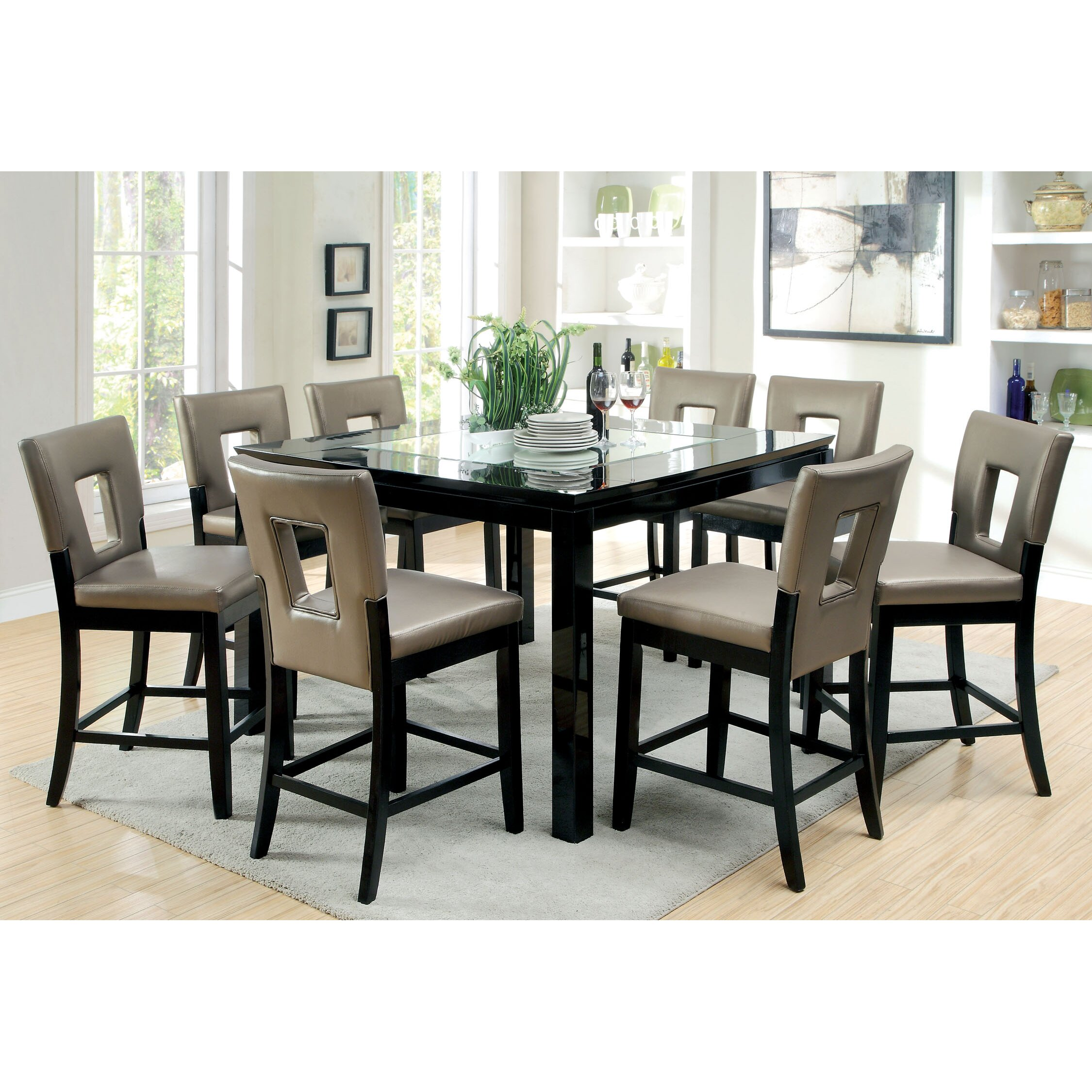9 piece counter height dining room sets hokku designs vanderbilte 9 counter height dining 9159