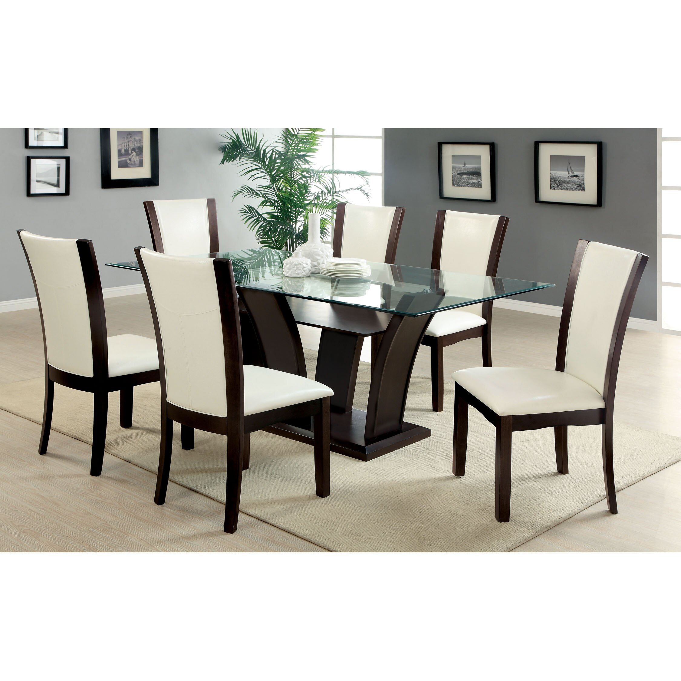 Hokku designs carmilla 7 piece dining set reviews wayfair for Dining room furniture designs