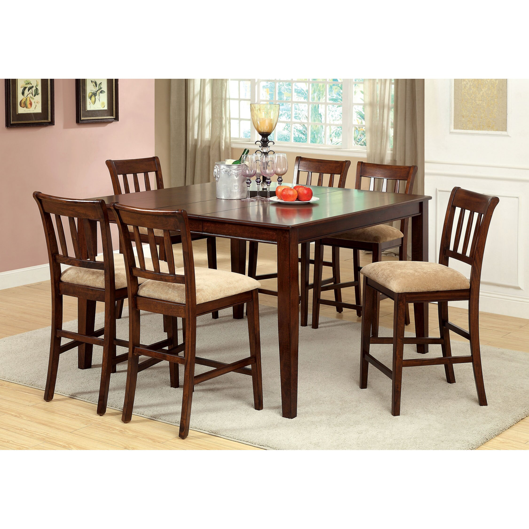 Begonia Twotone 7piece Counter Height Dining Set Set of 7 Free