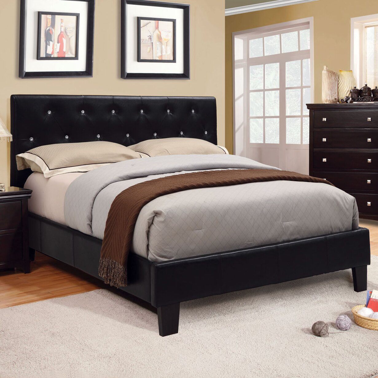 Hokku designs frazina upholstered platform bed reviews for Pedestal bed