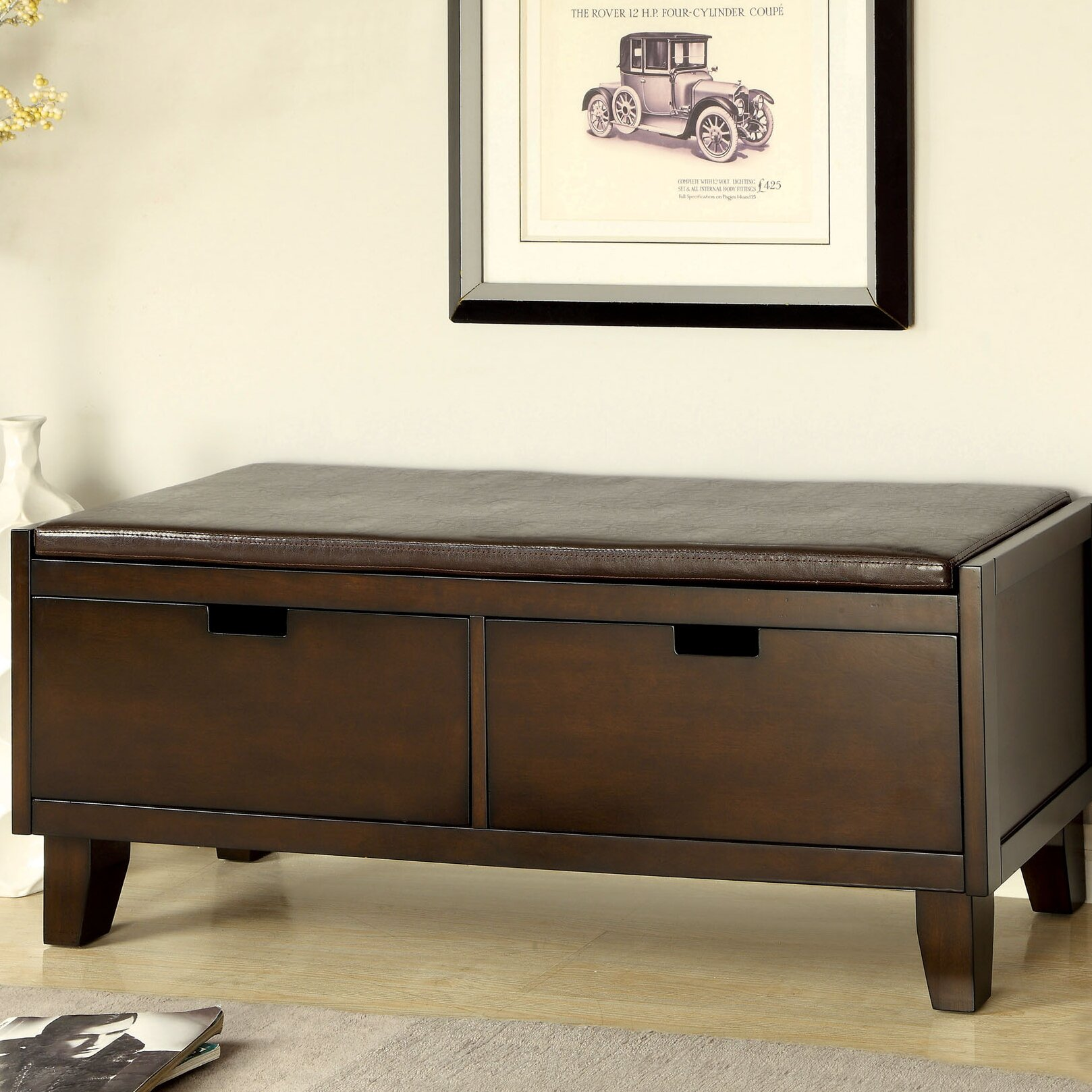 Hokku designs executive leatherette storage entryway bench for Entryway mudroom bench