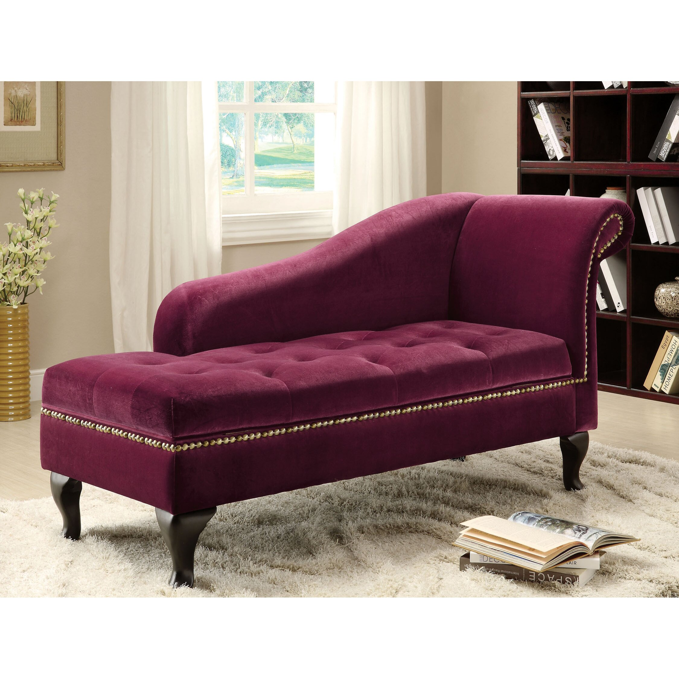 Hokku designs coral chaise lounge with storage reviews for Burgundy chaise lounge