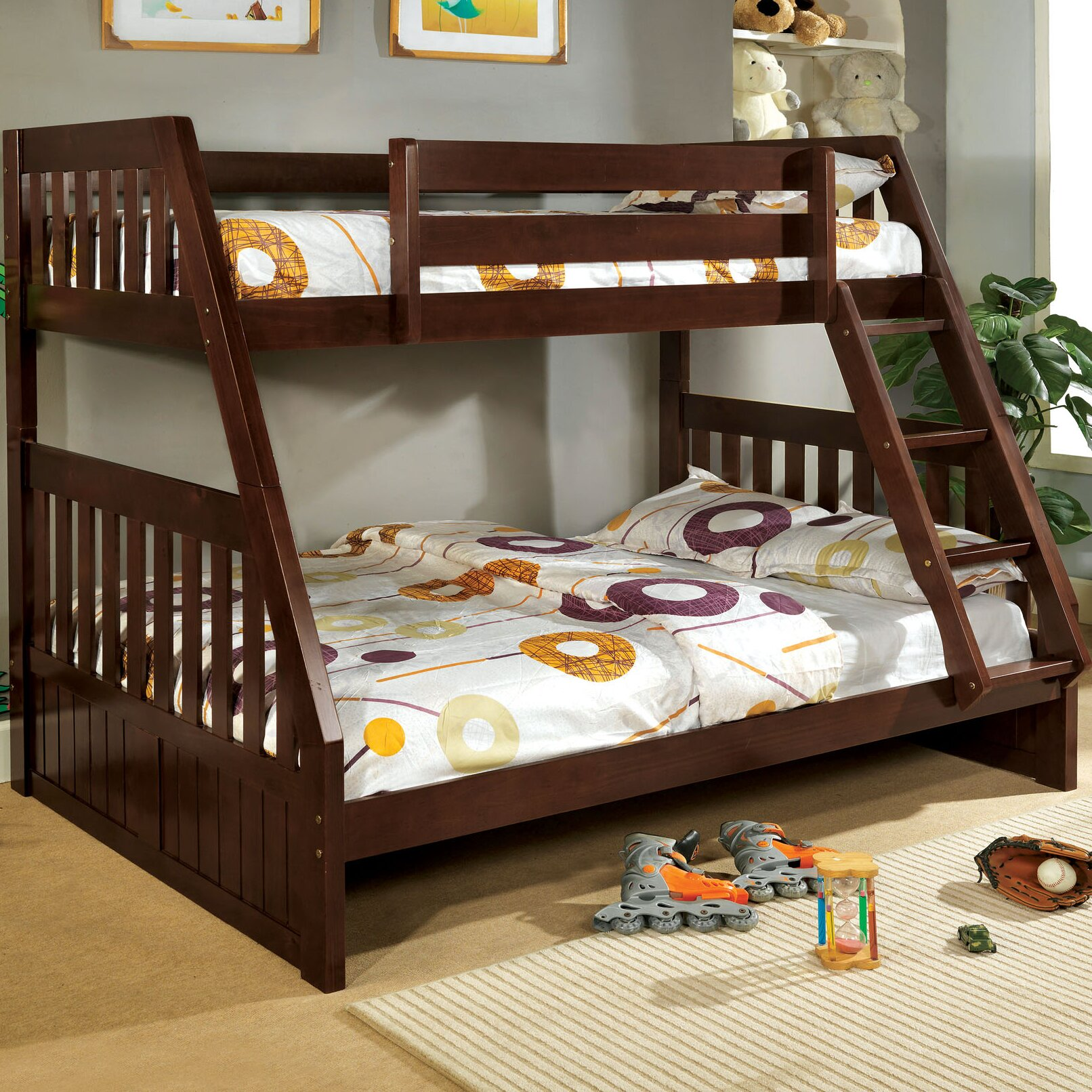 hokku designs logan twin over full bunk bed reviews wayfair. Black Bedroom Furniture Sets. Home Design Ideas
