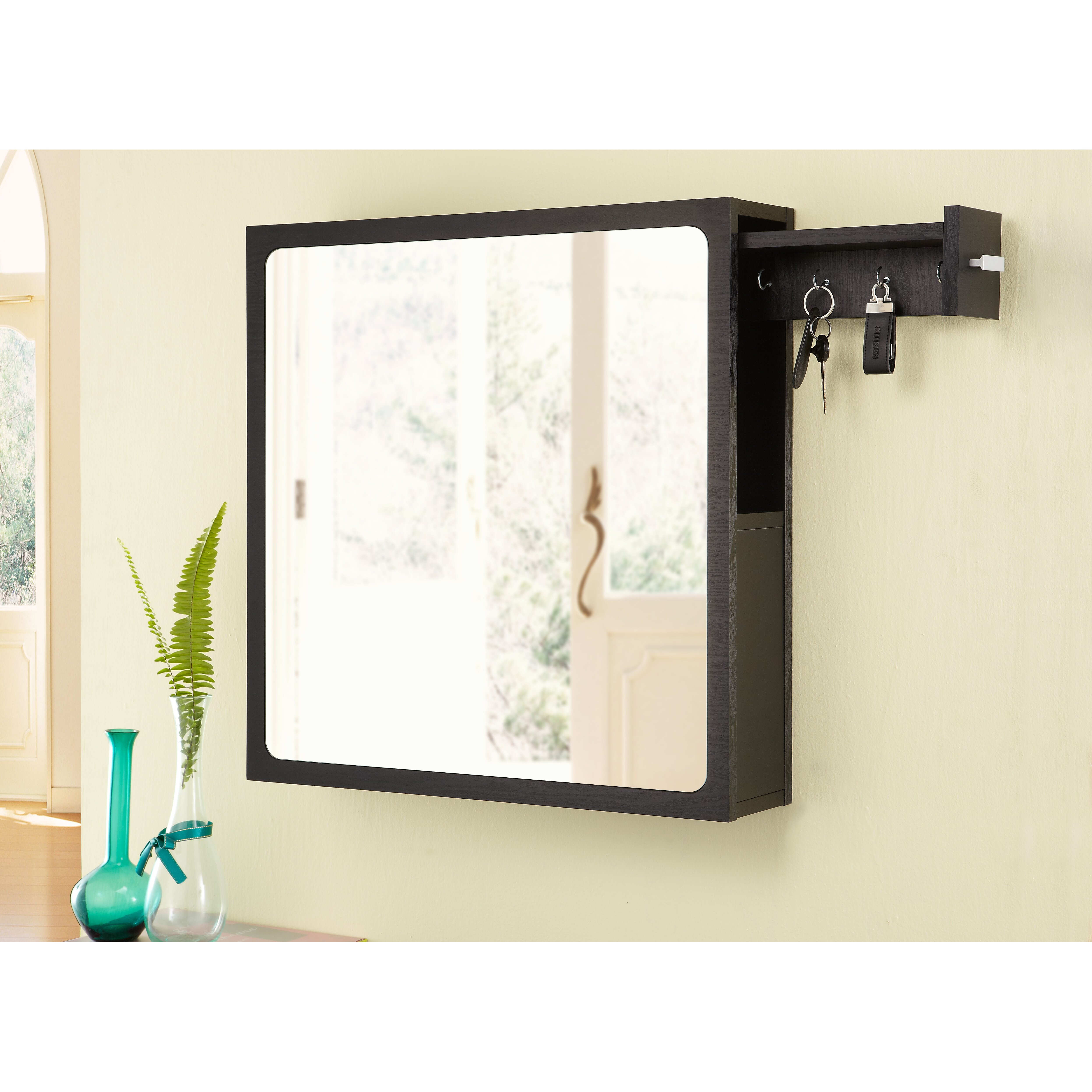Hokku designs monte wall mounted jewelry armoire with for Wall mounted mirror