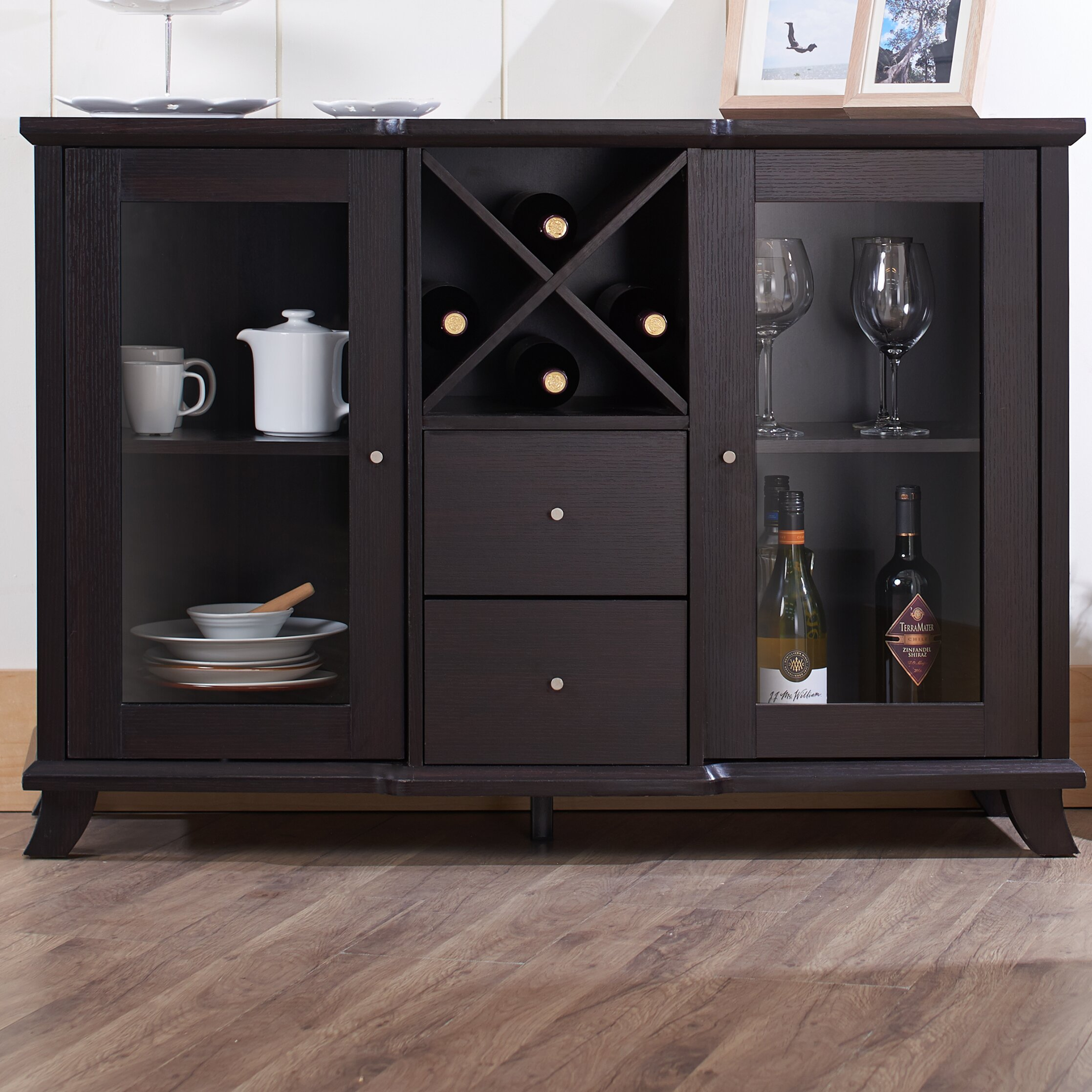 Hokku designs venetta dining buffet cabinet reviews for Dining room cupboard designs