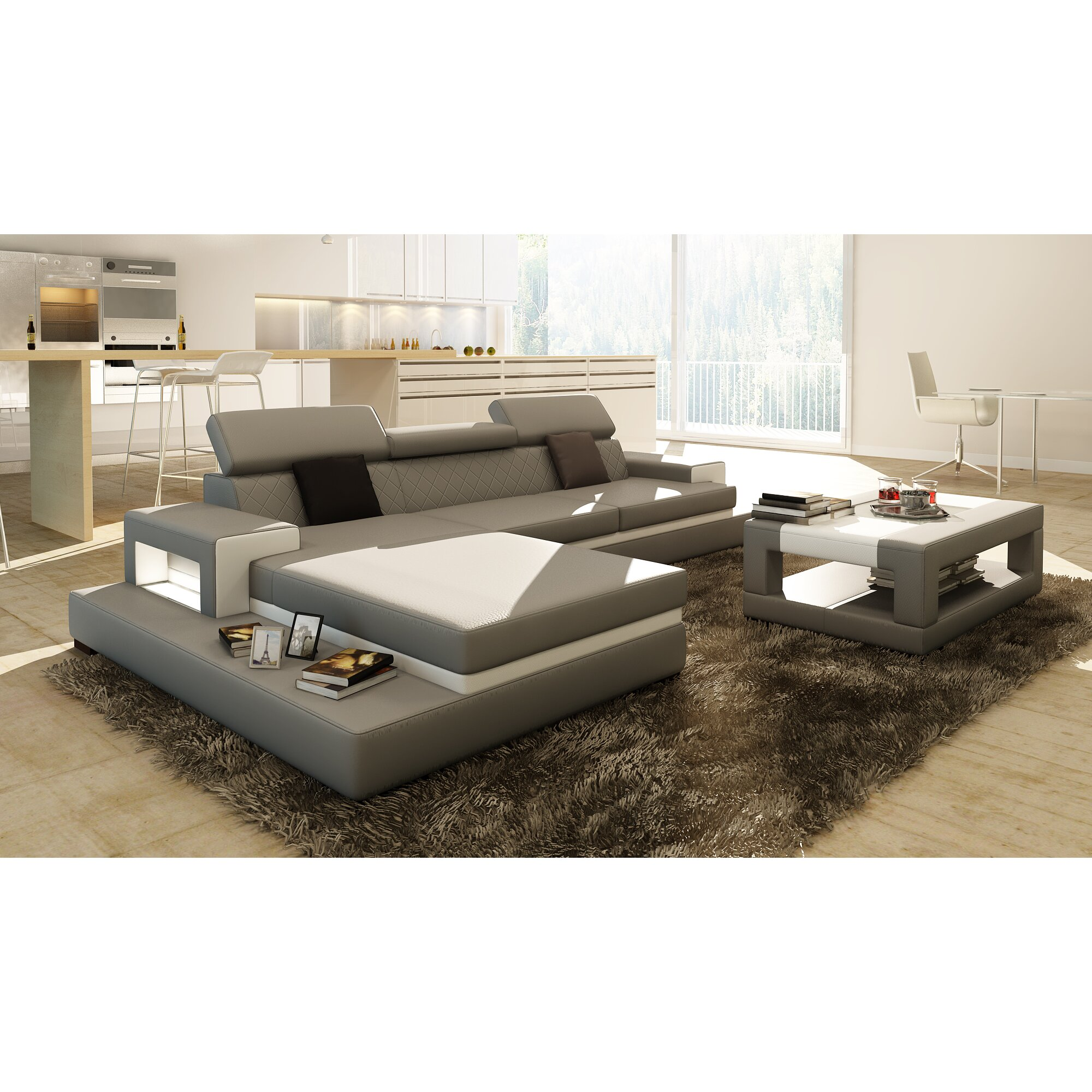 Hokku Designs Sophia Three Piece Grey Leather Sectional With Matching Coffee Table Wayfair