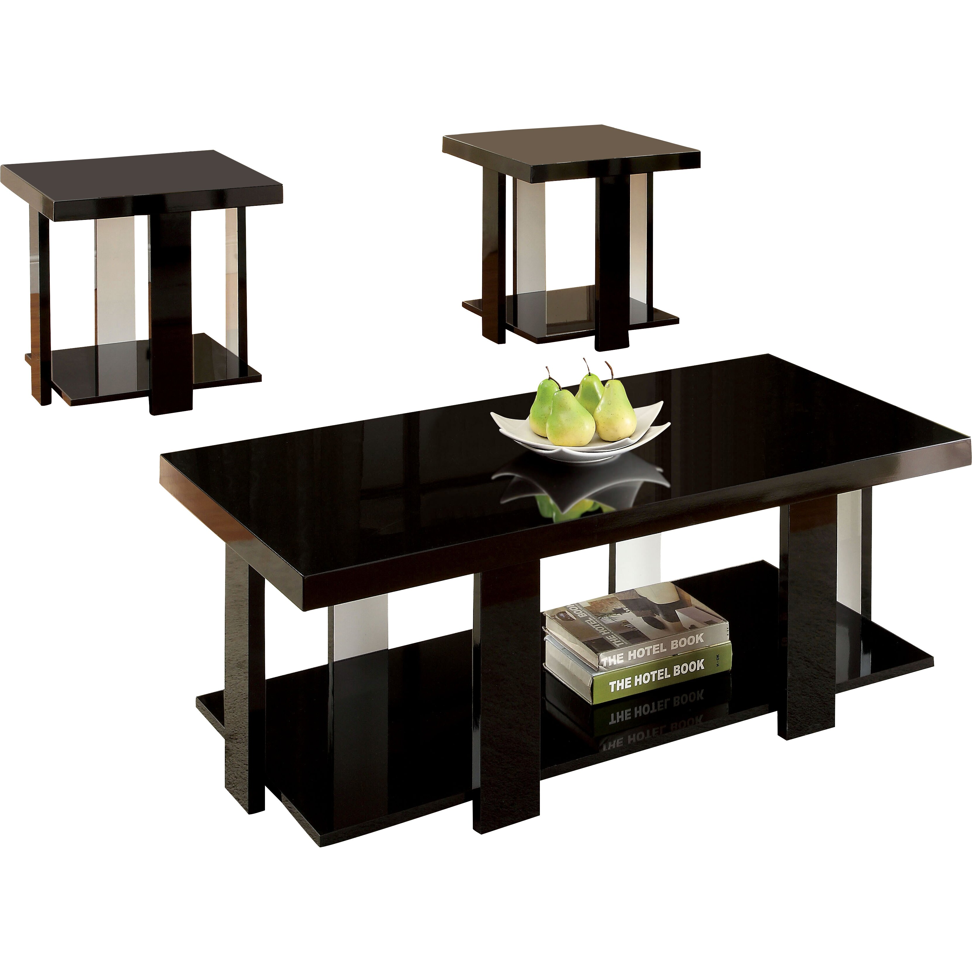 Hokku designs eran 3 piece coffee table set reviews for Living room 3 piece table sets