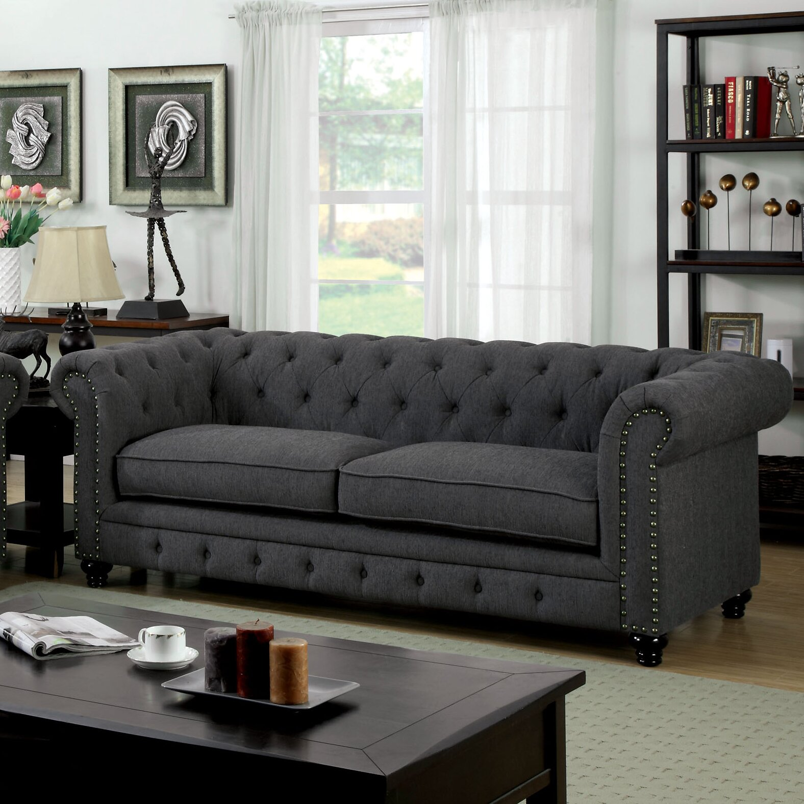 hokku designs cedric 90 chesterfield sofa reviews wayfair