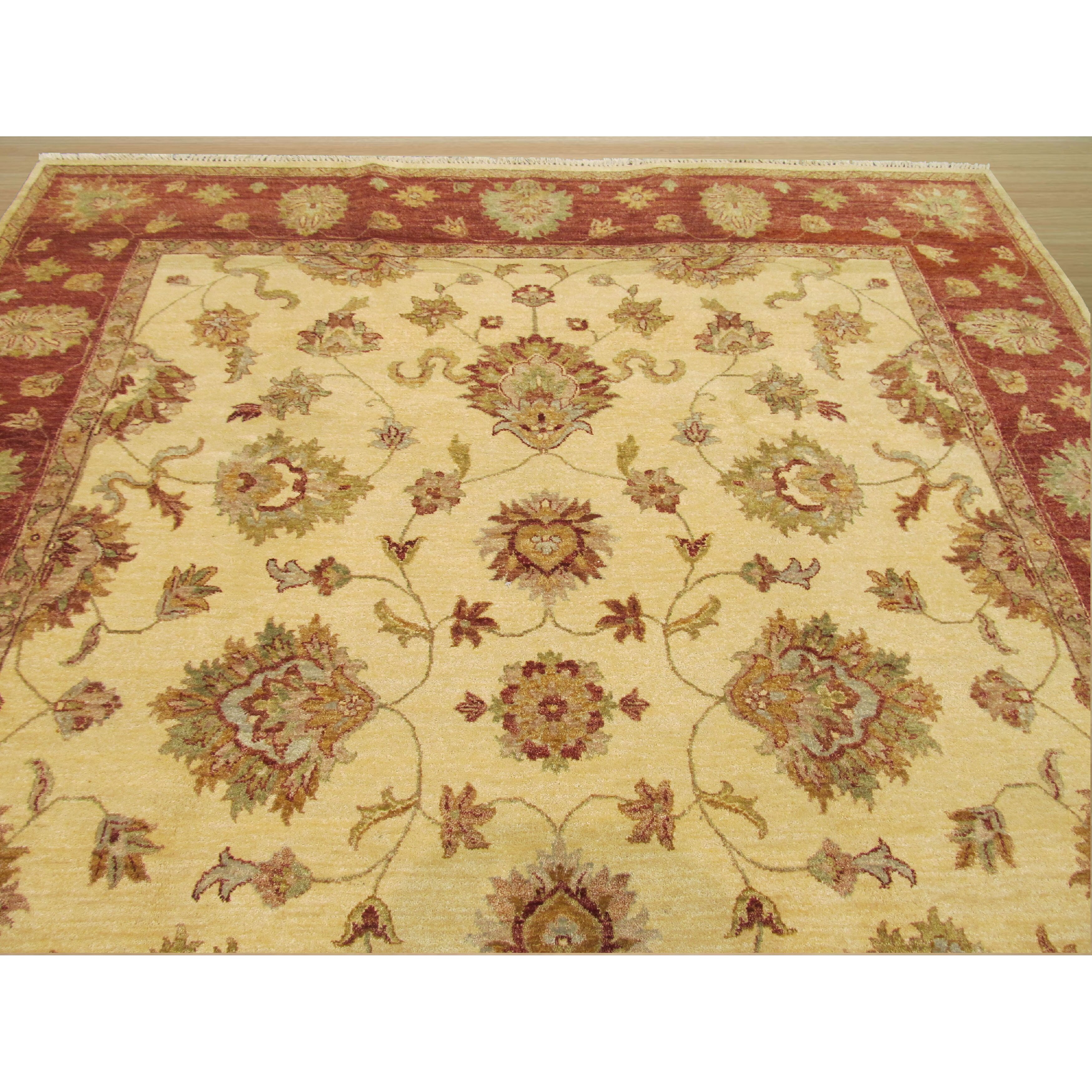 Chevron Knot Rug Ivory: Eastern Rugs Hand-Knotted Ivory Area Rug