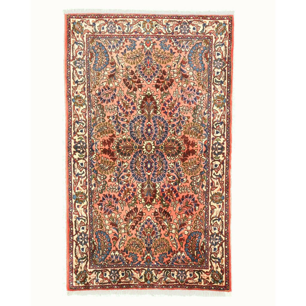 Eastern Rugs Sarouk Hand Knotted Pink Area Rug Wayfair
