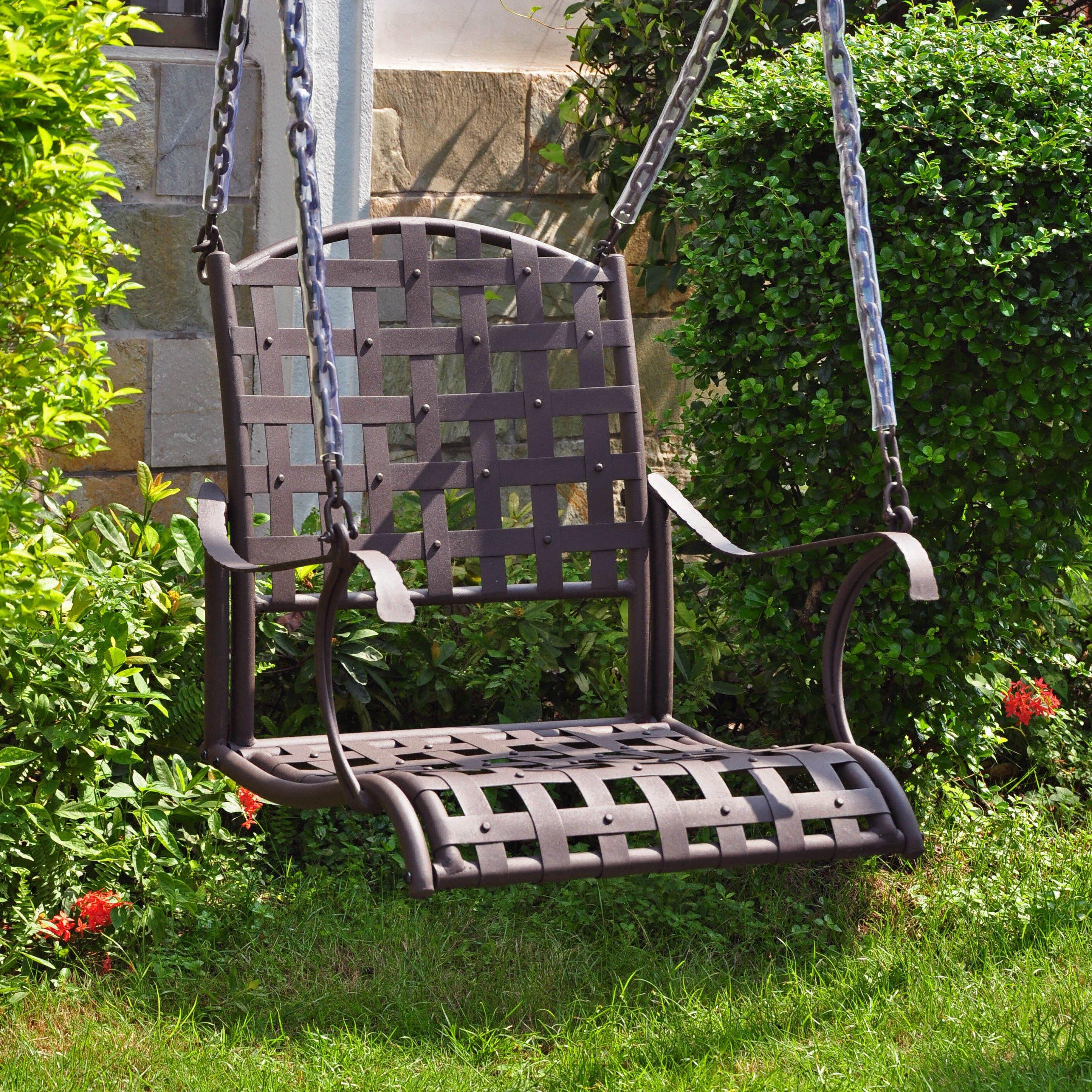 International caravan santa fe porch swing reviews wayfair for Pictures of porch swings